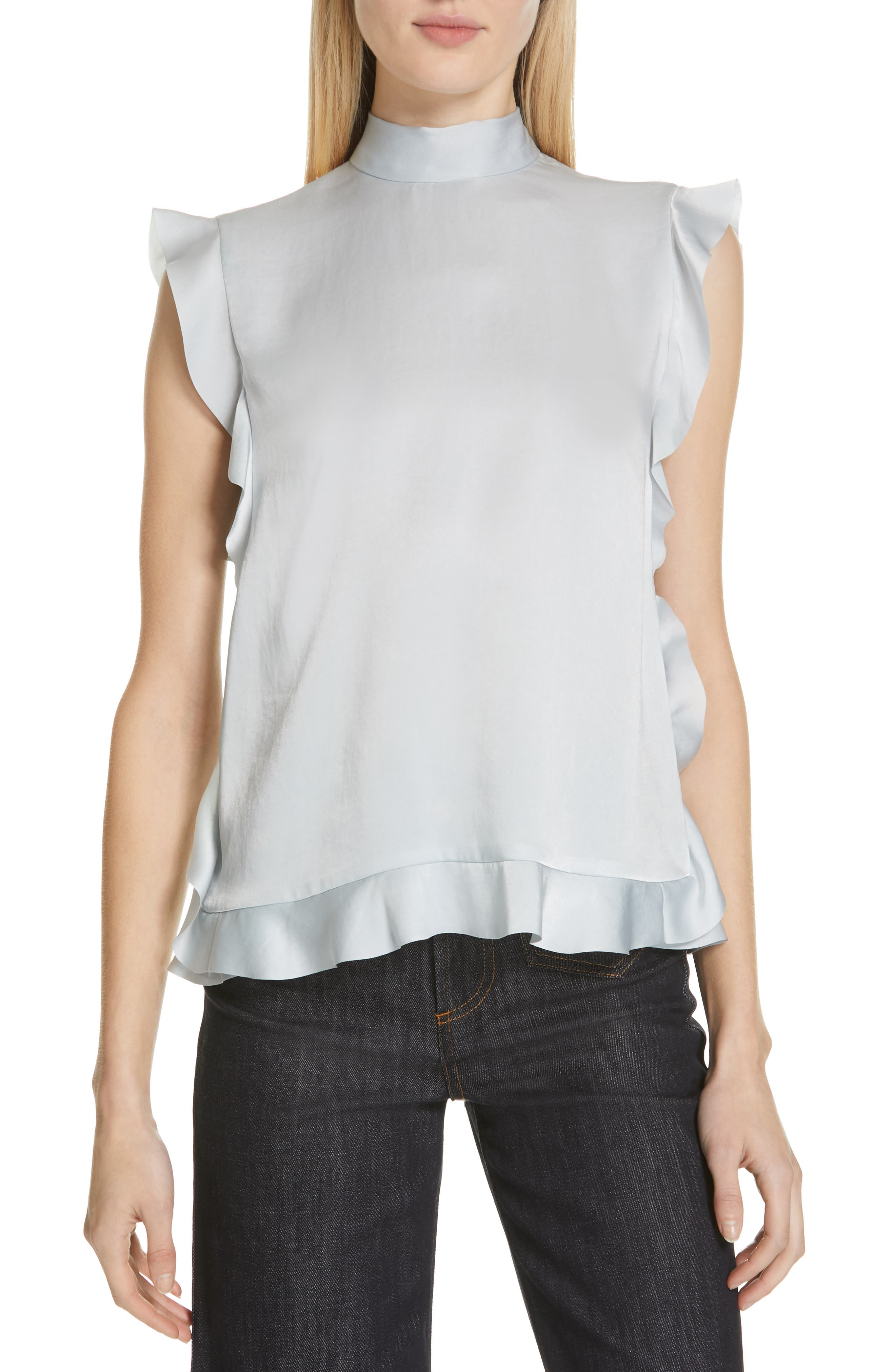 Ruffle Trim Satin Top by Red Valentino