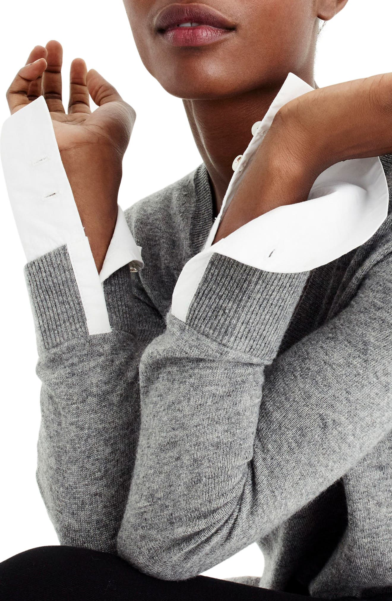 V-Neck Sweater with Shirt Cuffs,                             Alternate thumbnail 2, color,                             020