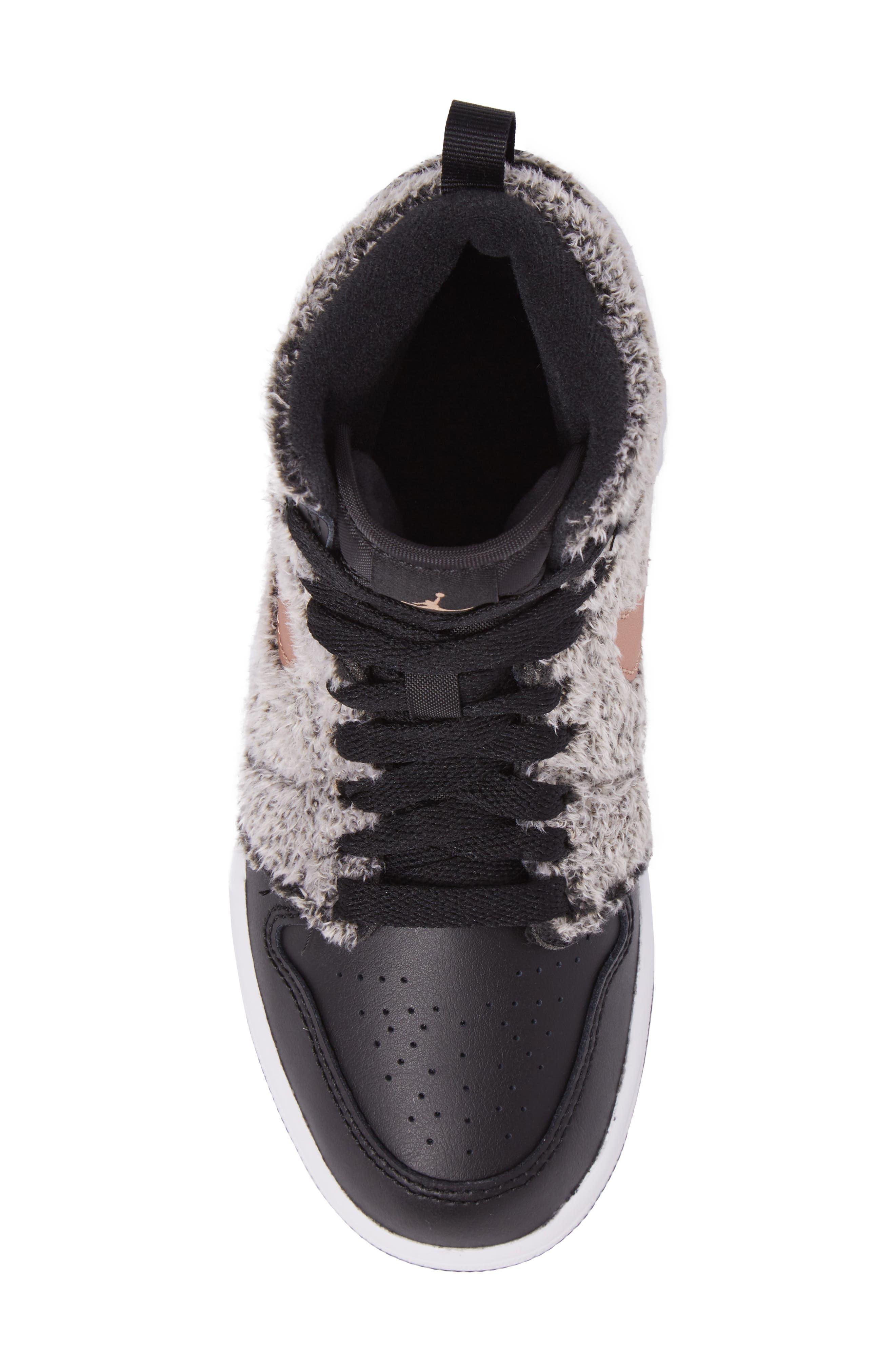 Nike Air Jordan 1 Retro Faux Fur High Top Sneaker,                             Alternate thumbnail 5, color,                             001