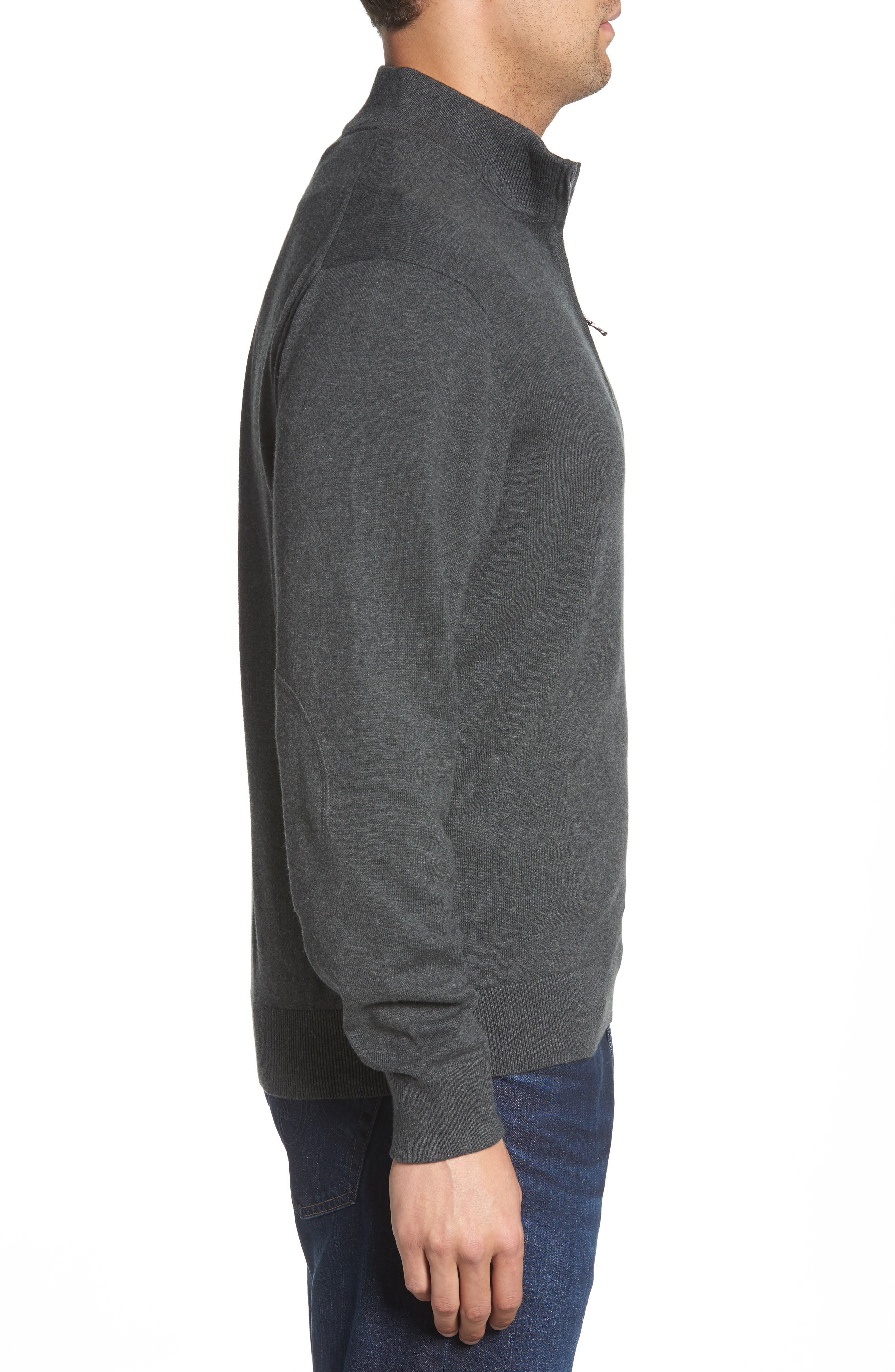 Seattle Seahawks - Lakemont Regular Fit Quarter Zip Sweater,                             Alternate thumbnail 3, color,                             CHARCOAL HEATHER