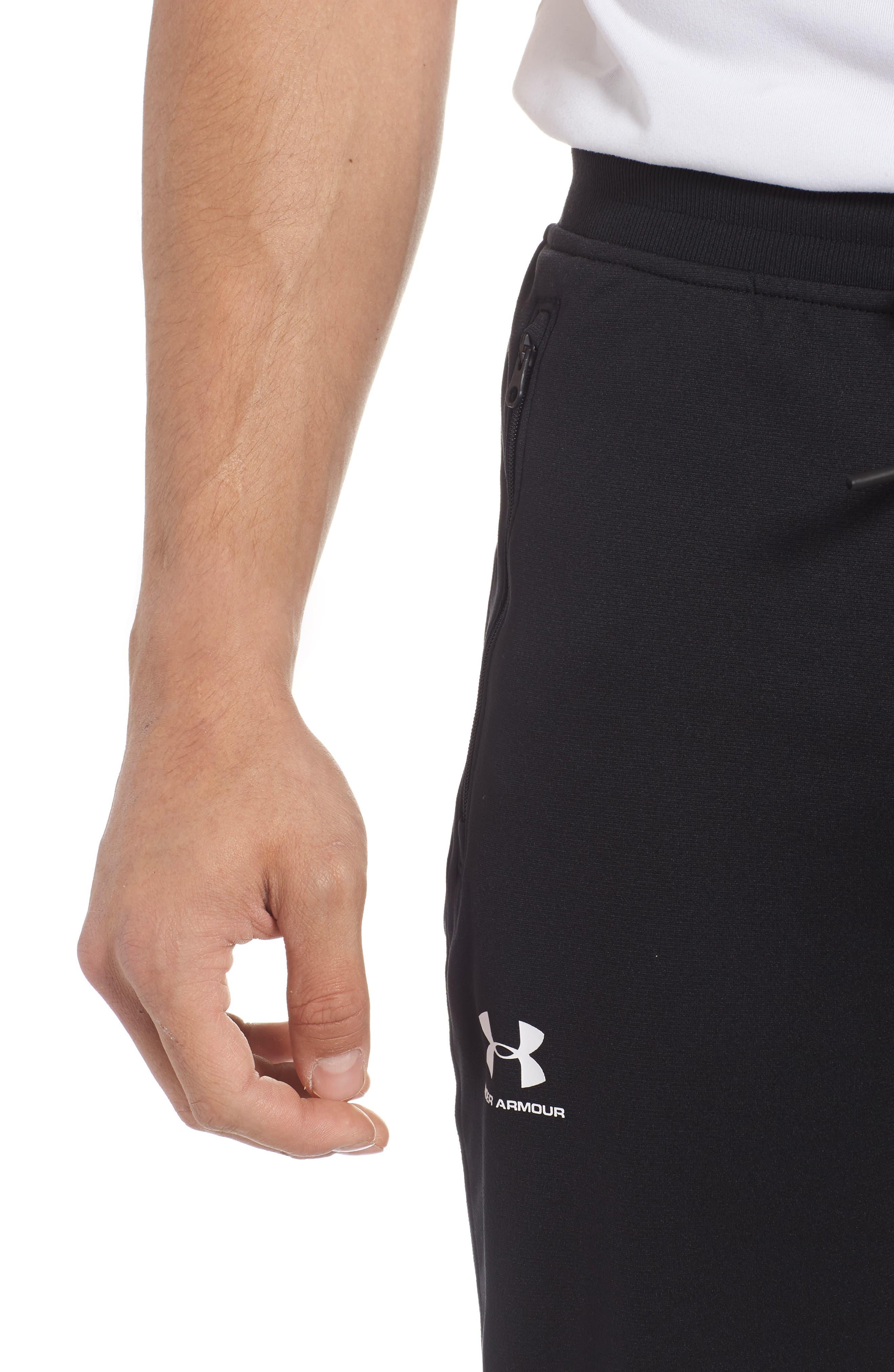 Sportstyle Knit Jogger Pants,                             Alternate thumbnail 4, color,                             BLACK/ WHITE