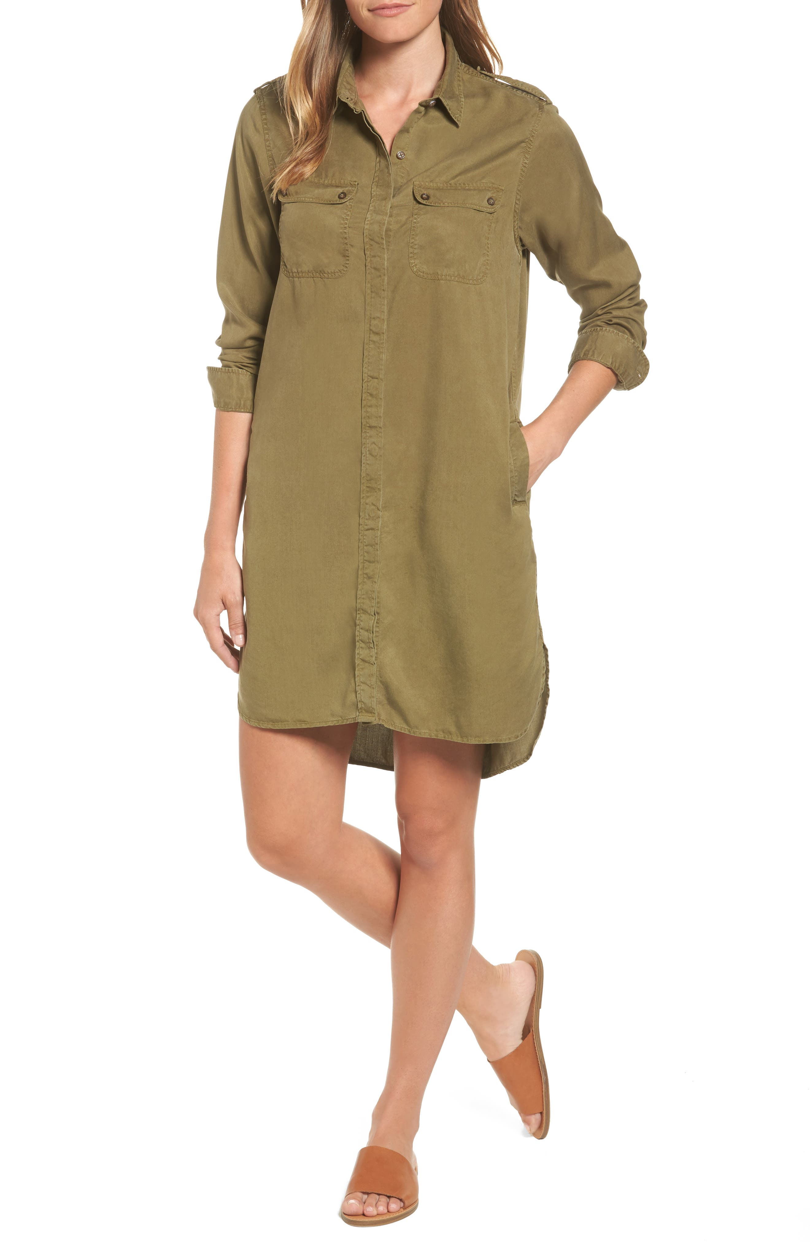 Langley Military Twill Dress,                             Main thumbnail 1, color,