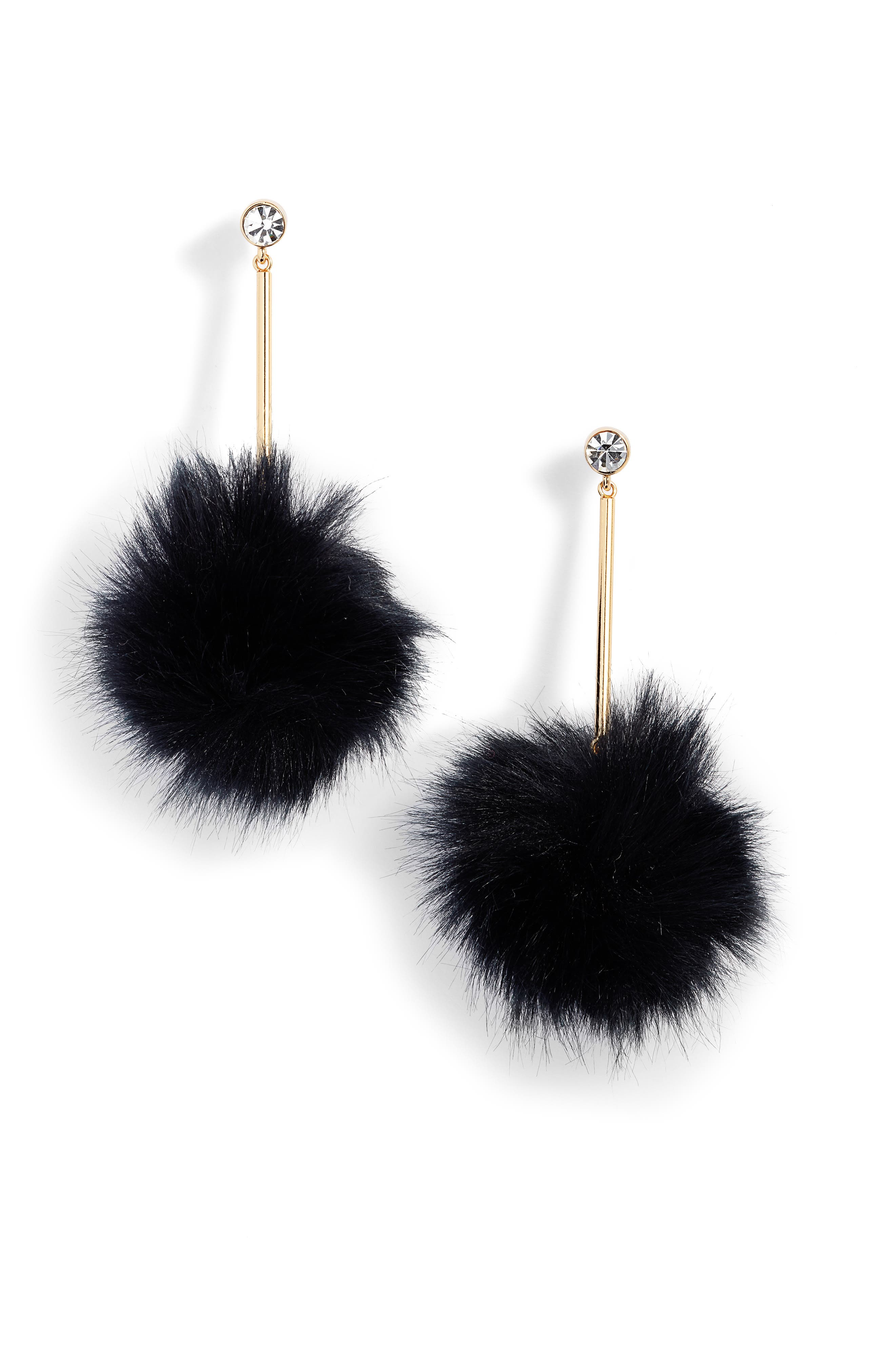 flying colors faux fur pompom earrings, Main, color, 001