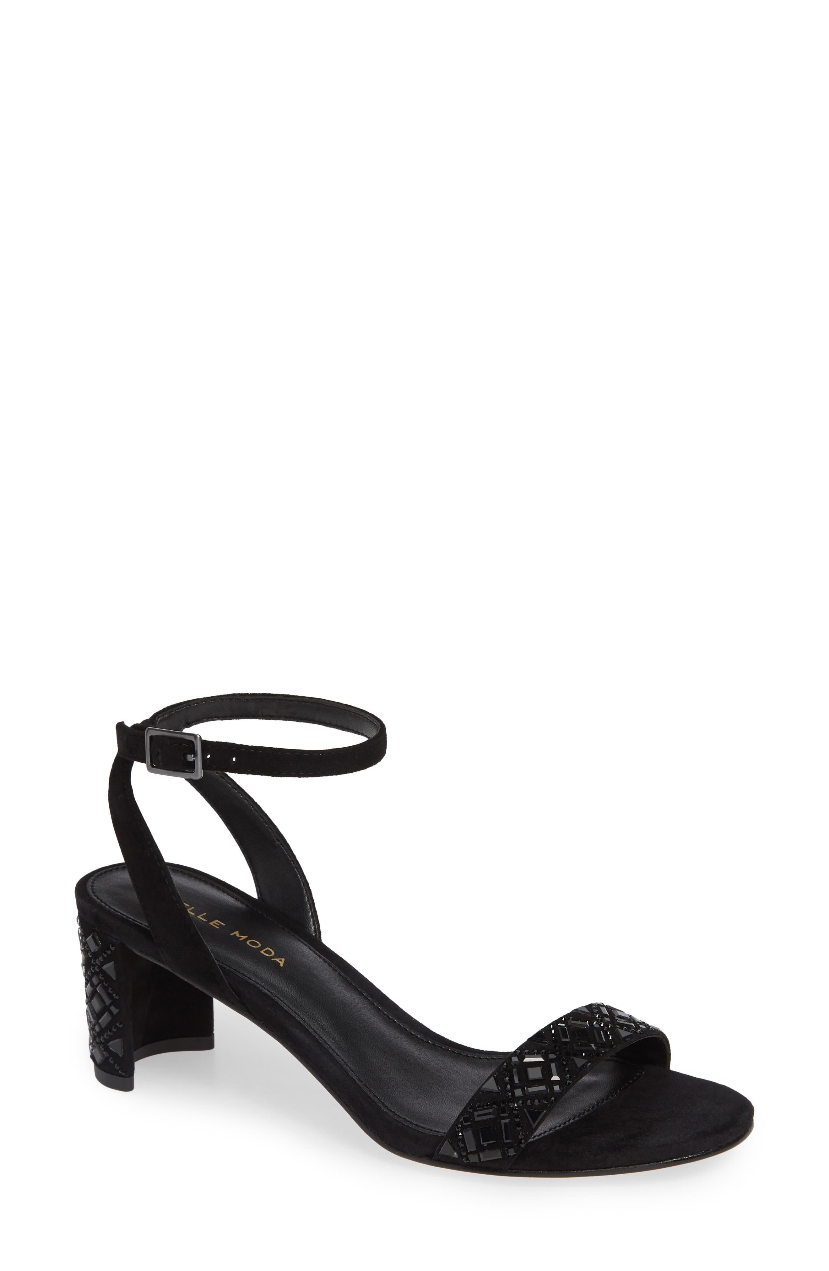 Moira Crystal Embellished Sandal,                             Main thumbnail 1, color,                             BLACK SUEDE