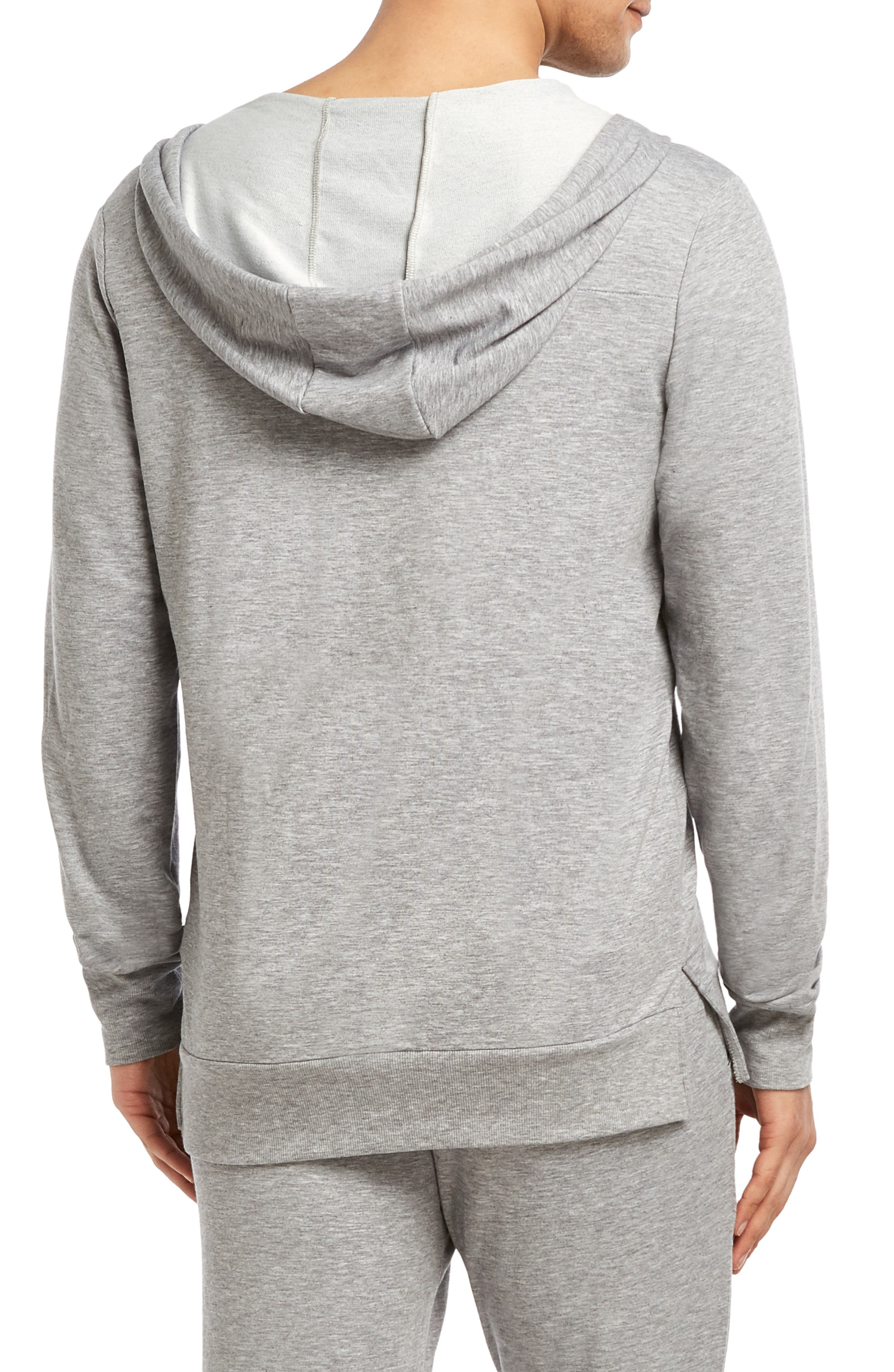 Stretch Henley Hoodie,                             Alternate thumbnail 2, color,                             HEATHER GREY