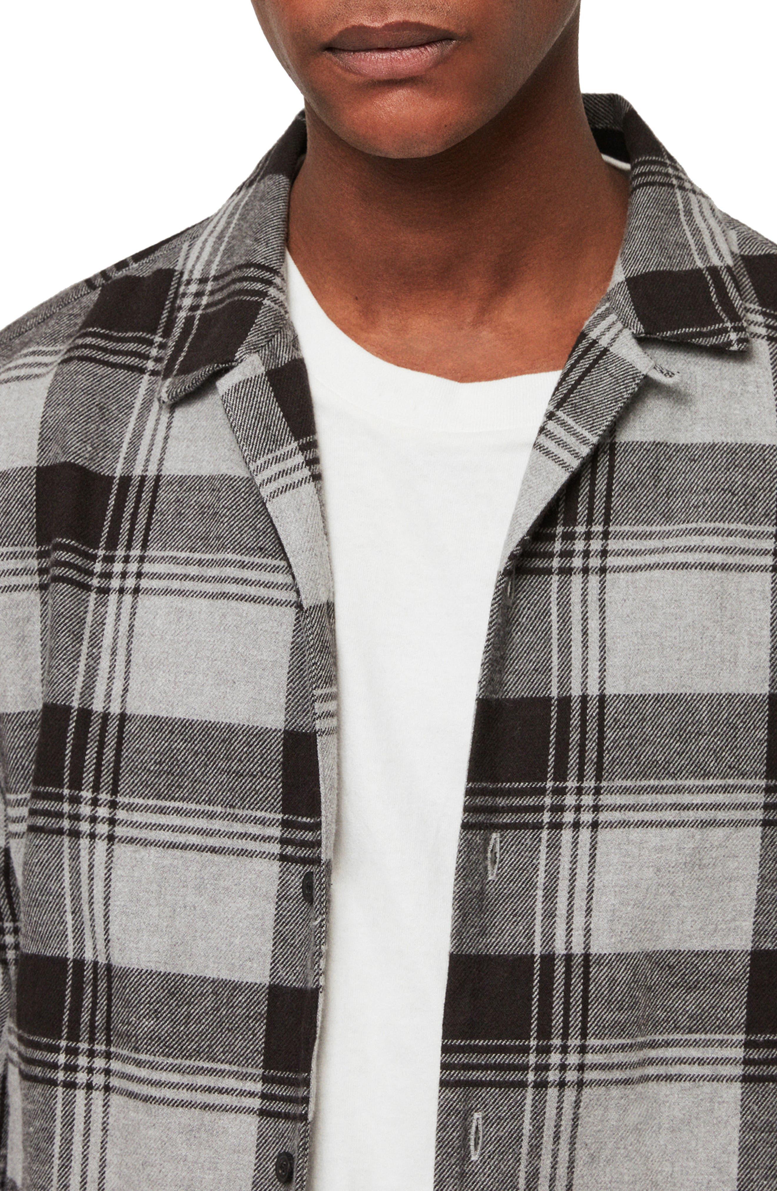 Danby Flannel Shirt Jacket,                             Alternate thumbnail 4, color,                             BLACK/ ECRU WHITE