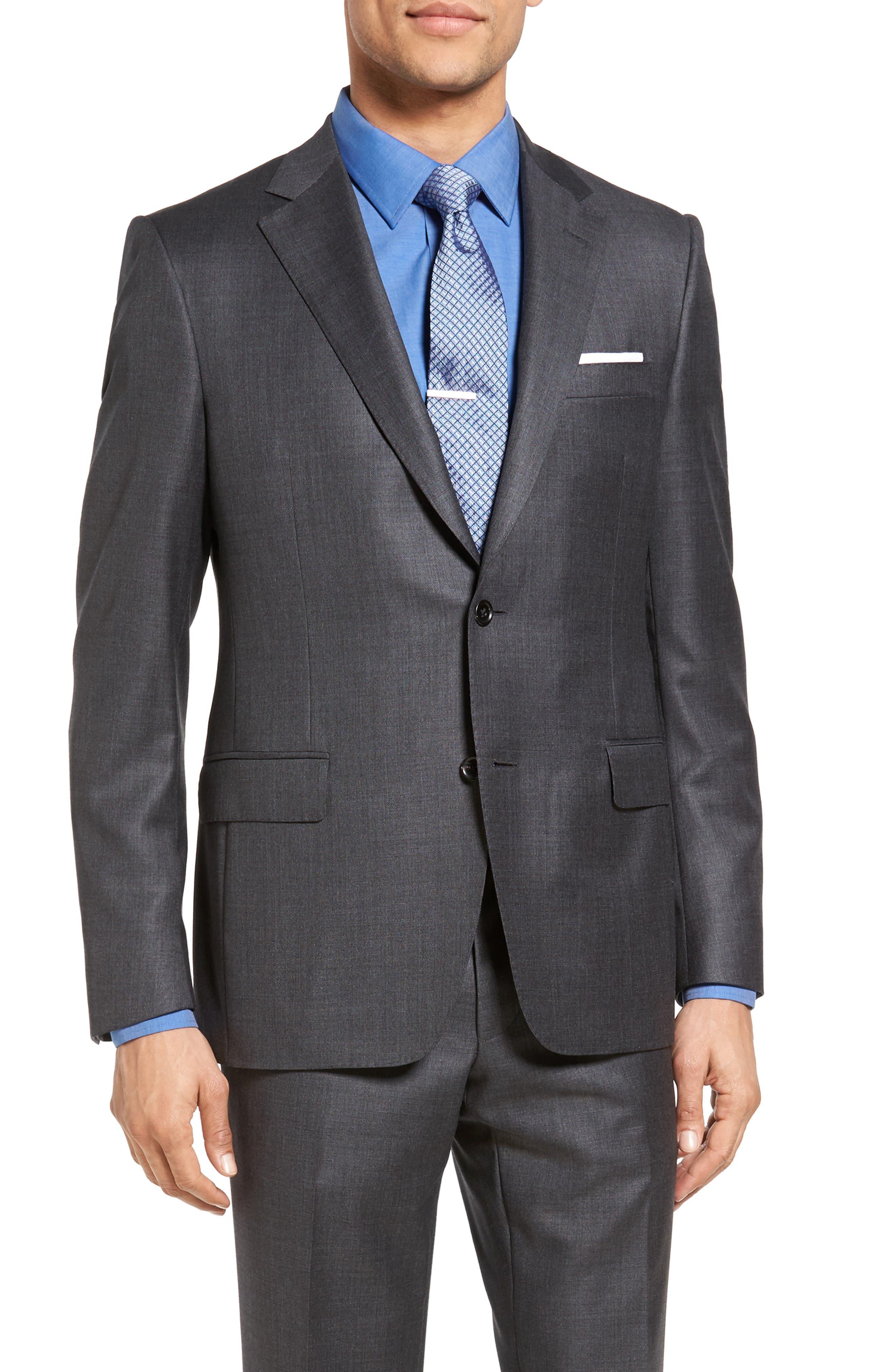 SAMUELSOHN Beckett Classic Fit Sharkskin Wool Suit, Main, color, 020