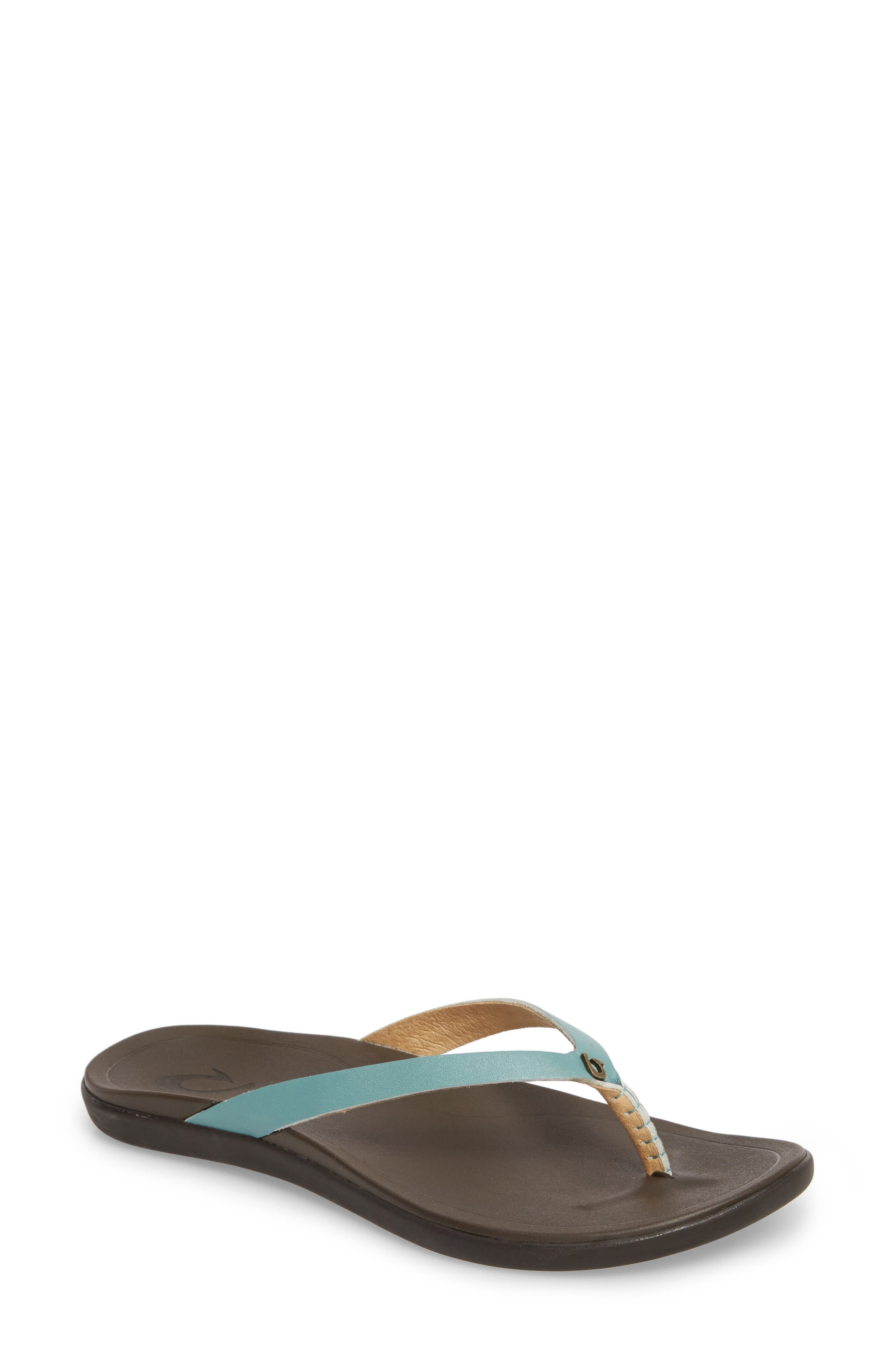 'Ho Opio' Leather Flip Flop,                             Main thumbnail 1, color,                             MINERAL BLUE/ DARK JAVA