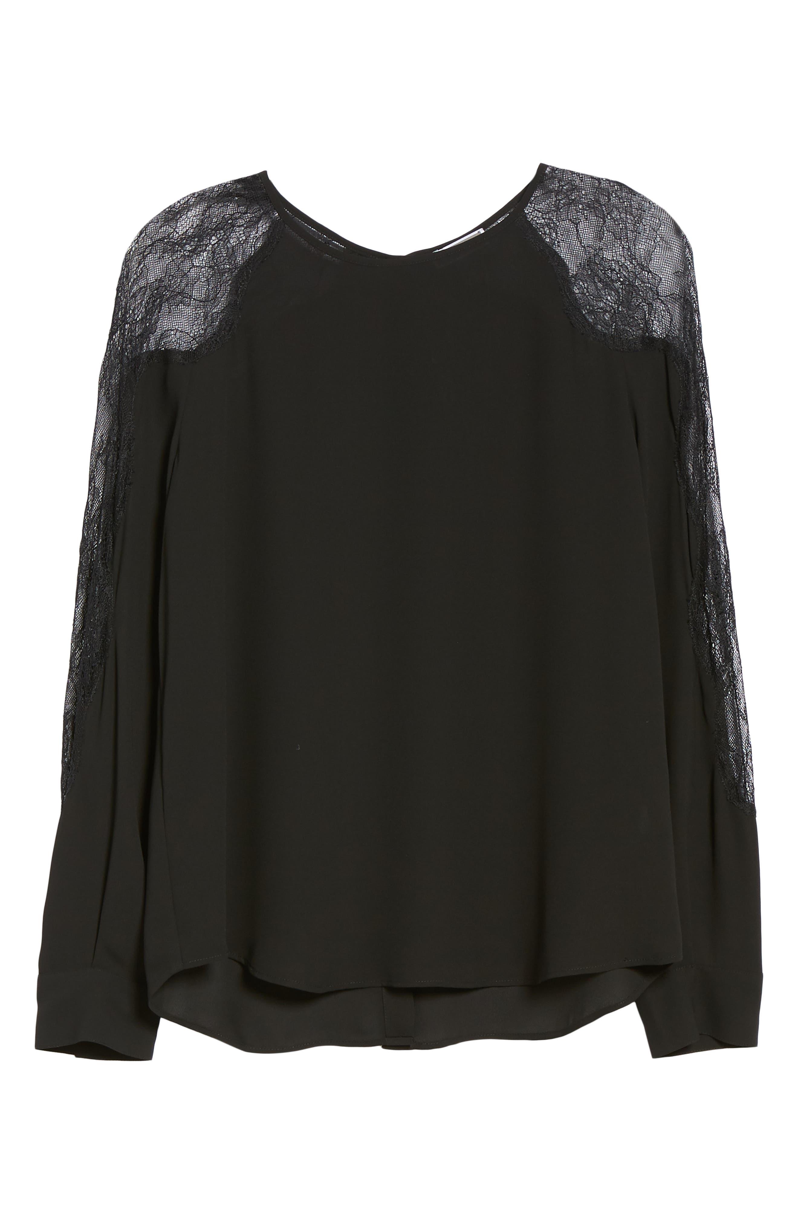 Lace Inset Blouse,                             Alternate thumbnail 6, color,                             BLACK