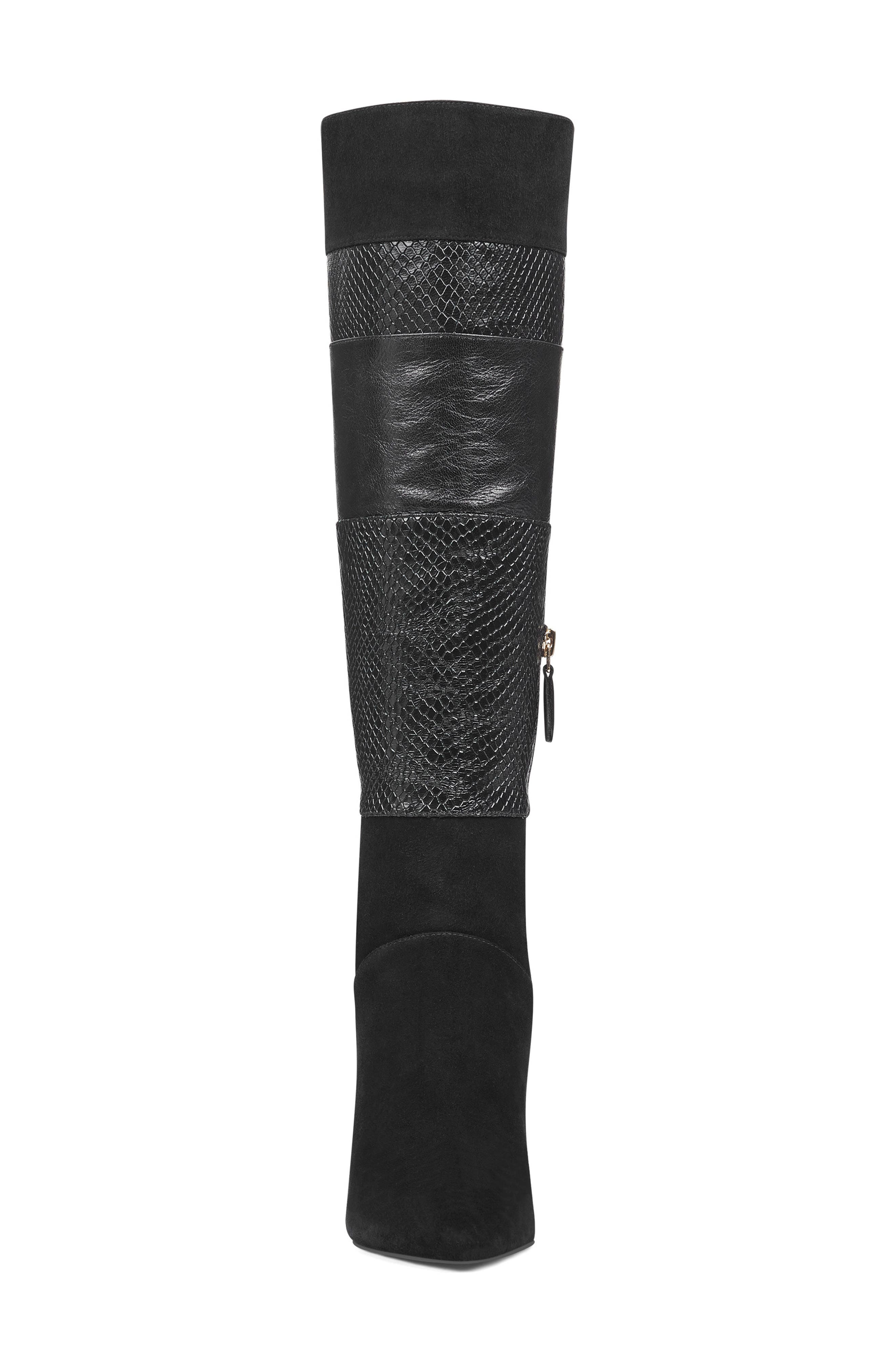 Toprank Blocked Knee High Boot,                             Alternate thumbnail 4, color,                             BLACK SUEDE