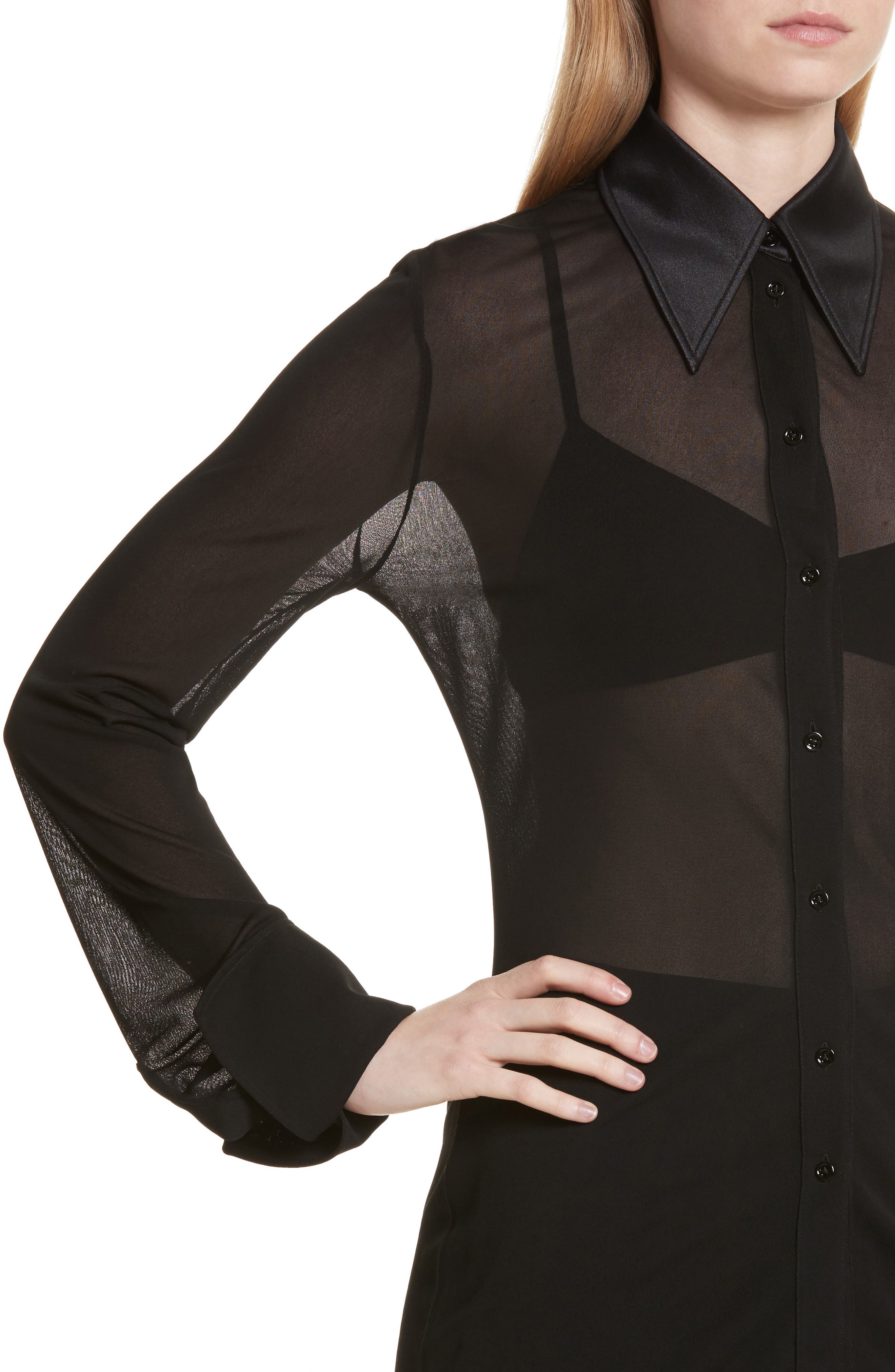Slater Sheer Crepe Net Shirt,                             Alternate thumbnail 4, color,                             001