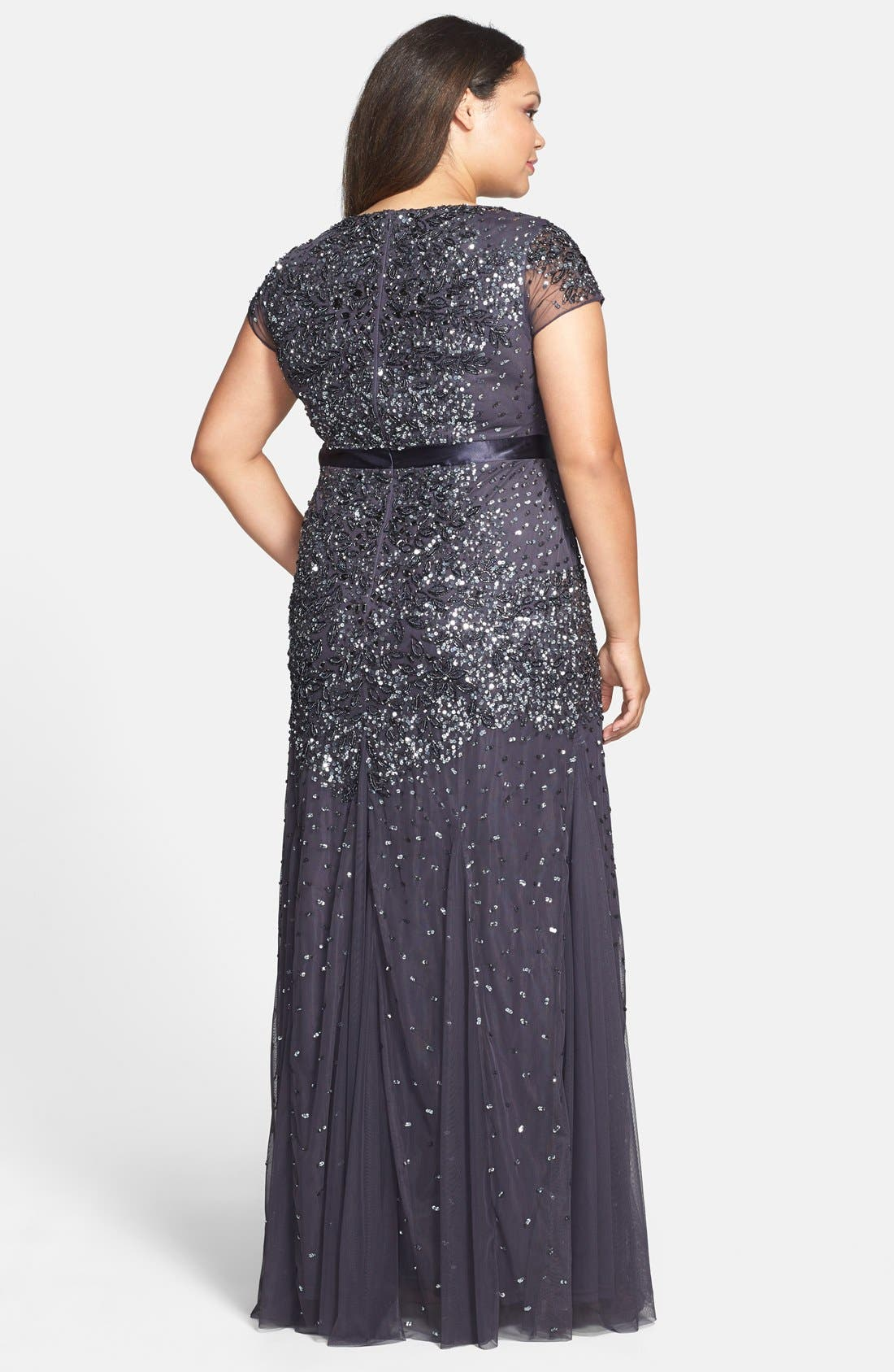 Beaded V-Neck Gown,                             Alternate thumbnail 9, color,                             GUNMETAL
