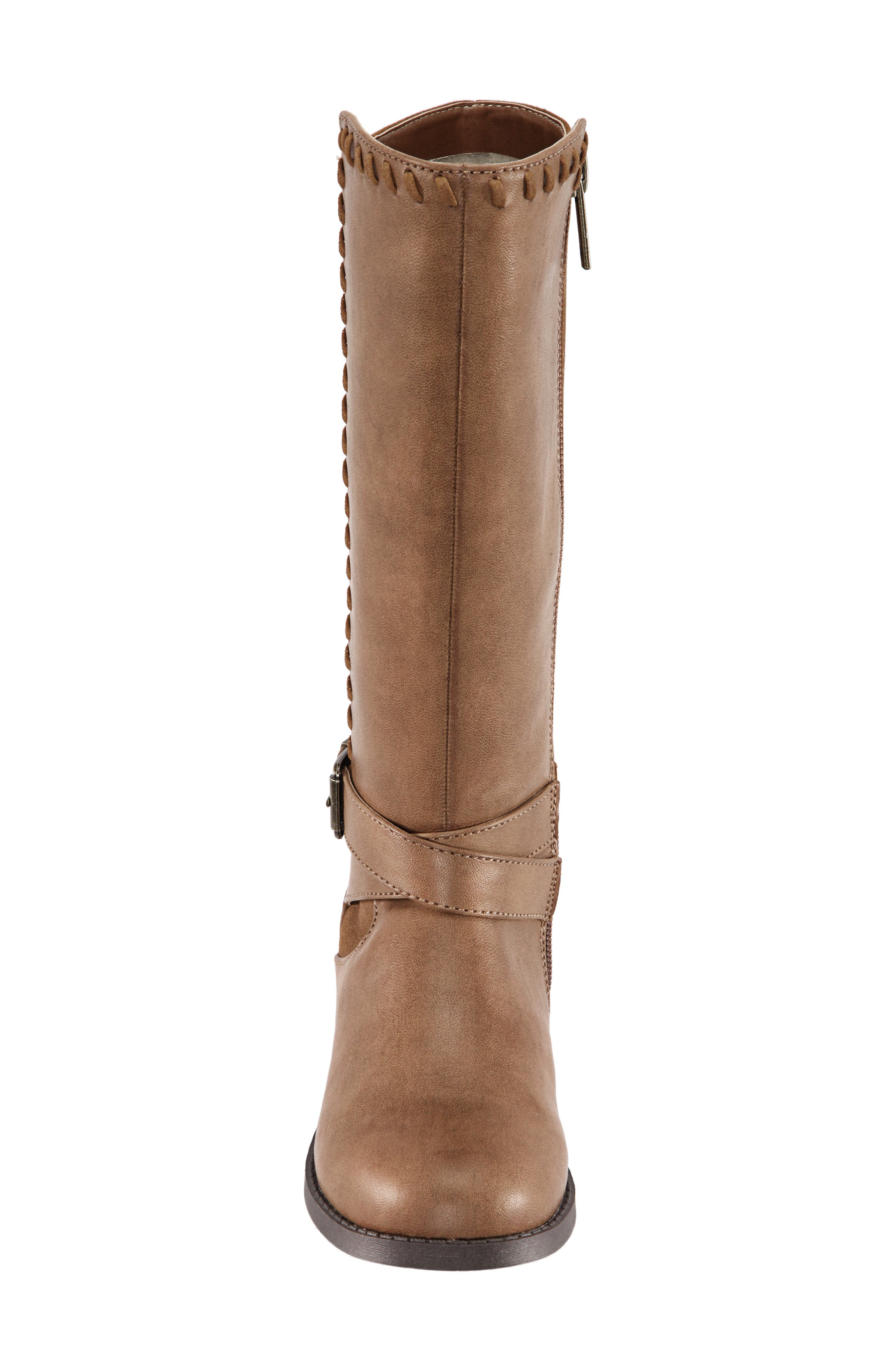 Jeanie Riding Boot,                             Alternate thumbnail 4, color,                             SADDLE BURNISHED