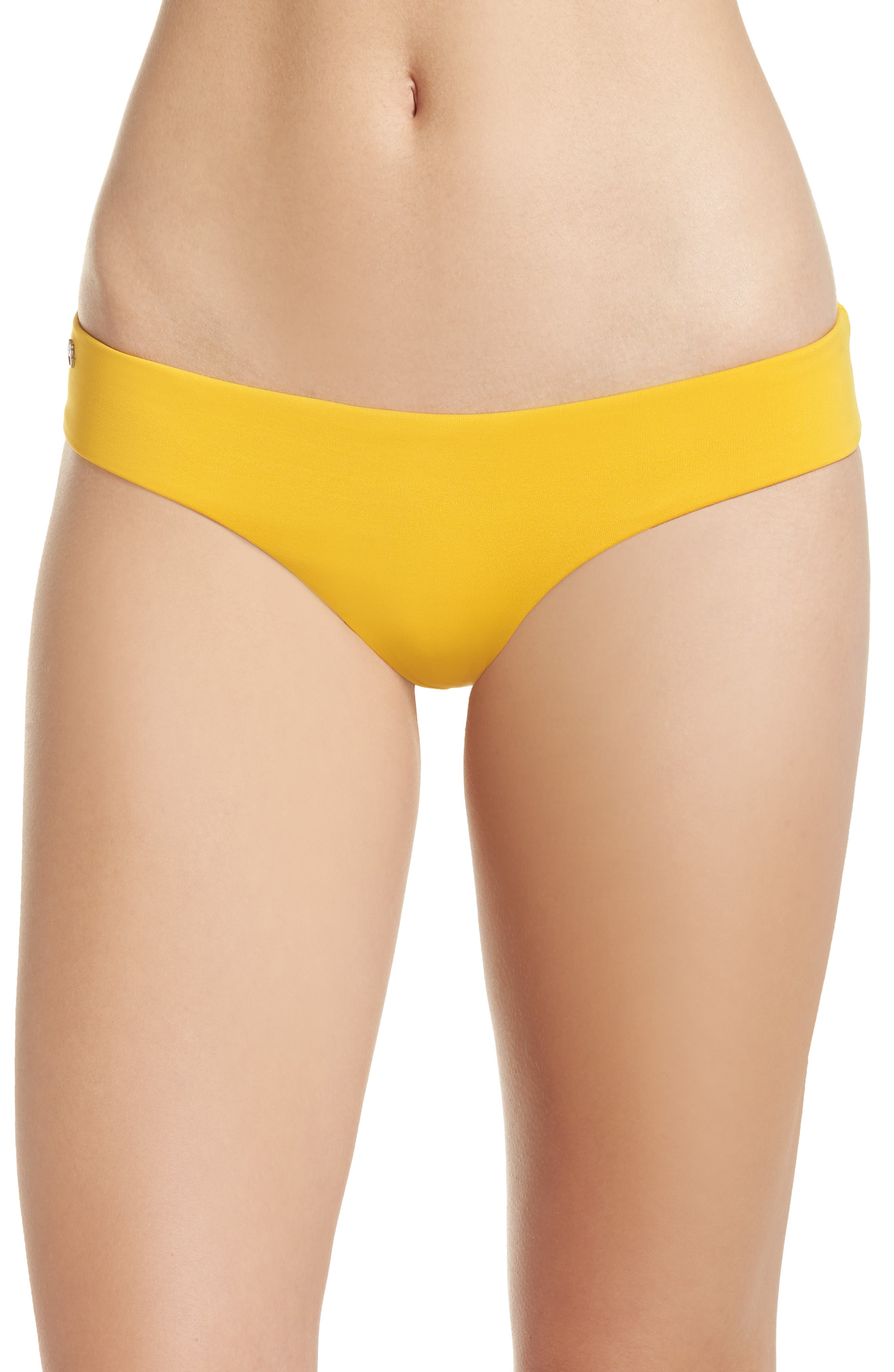 Mellow Yellow Sublime Leaf Reversible Bikini Bottoms,                             Main thumbnail 1, color,                             YELLOW