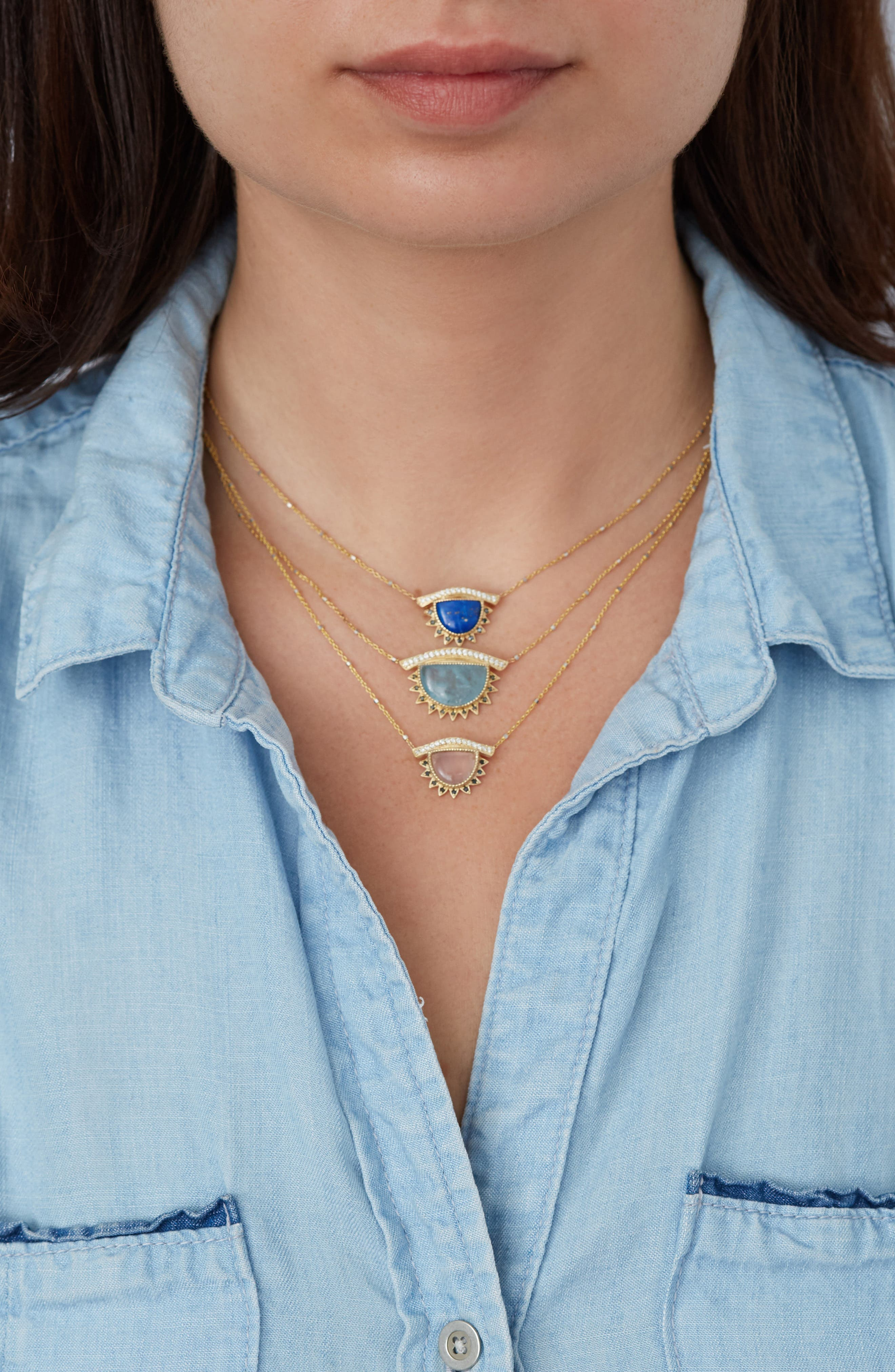 Inspire & Calm Small Third Eye Necklace,                             Alternate thumbnail 2, color,                             YELLOW GOLD