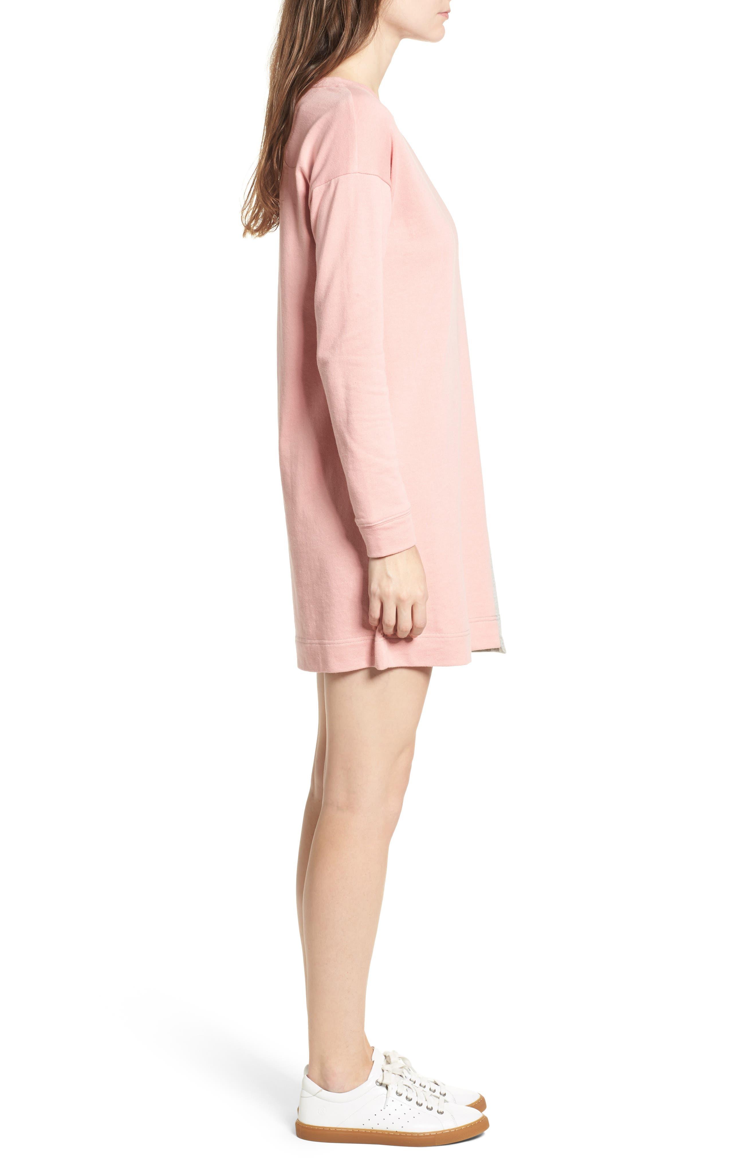 Colorblock Sweatshirt Dress,                             Alternate thumbnail 3, color,                             039