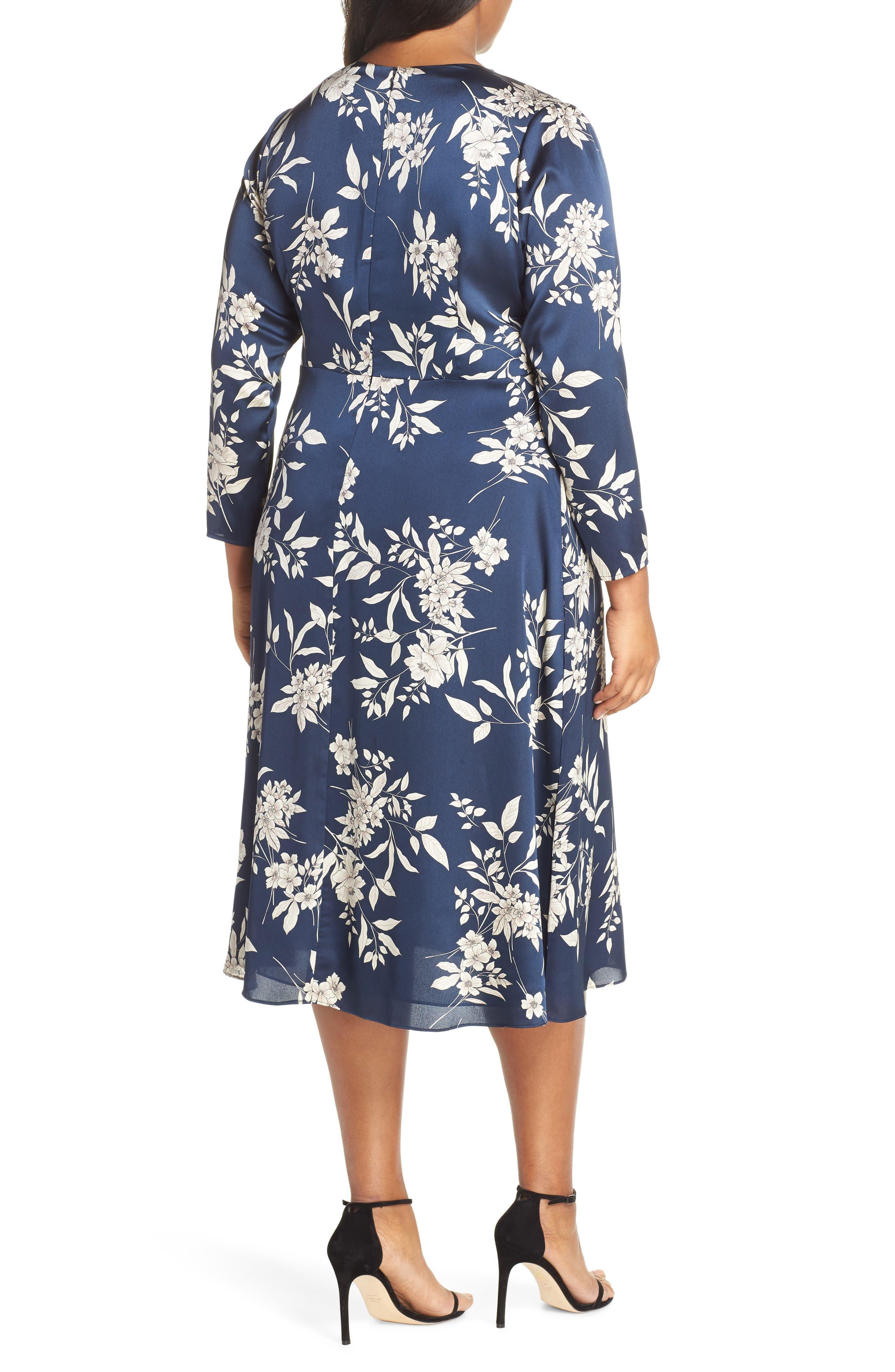 Etched Bouquet Midi Dress,                             Alternate thumbnail 2, color,                             INK BLUE