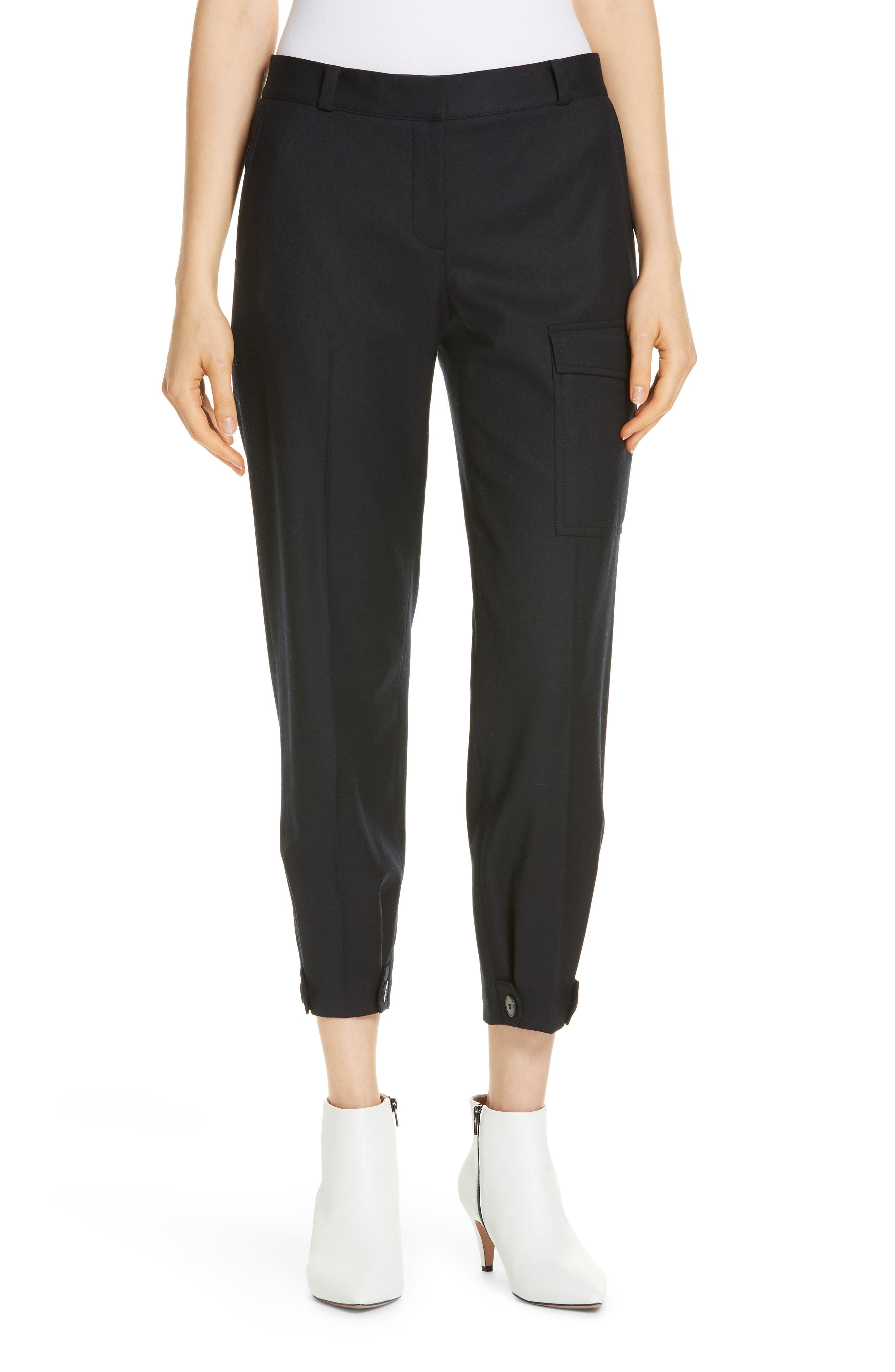 Wool Blend Flannel Button Cuff Pants, Main, color, 410