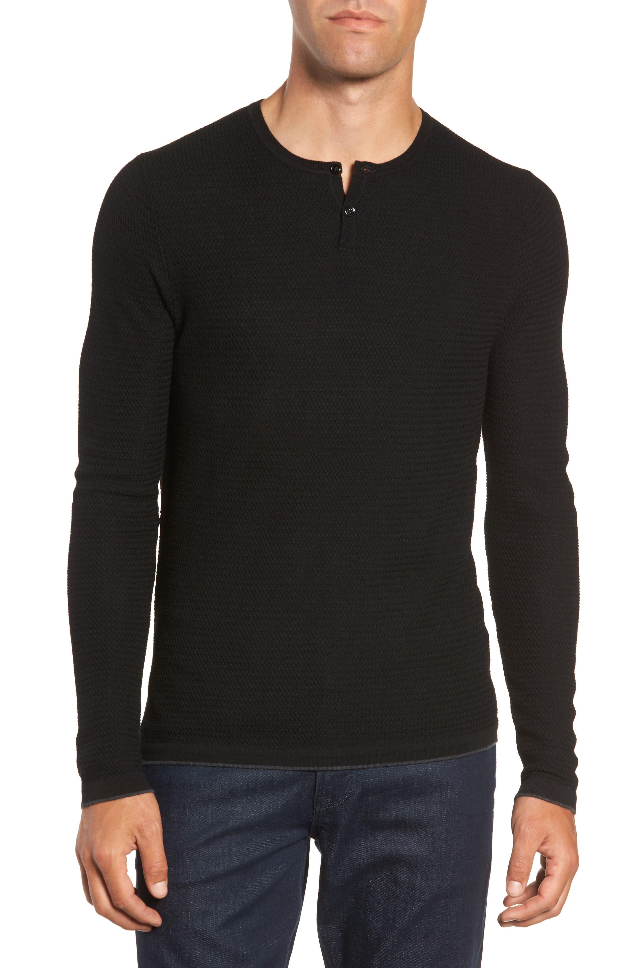 Hawthorn Wool Blend Thermal,                             Main thumbnail 1, color,                             BLACK
