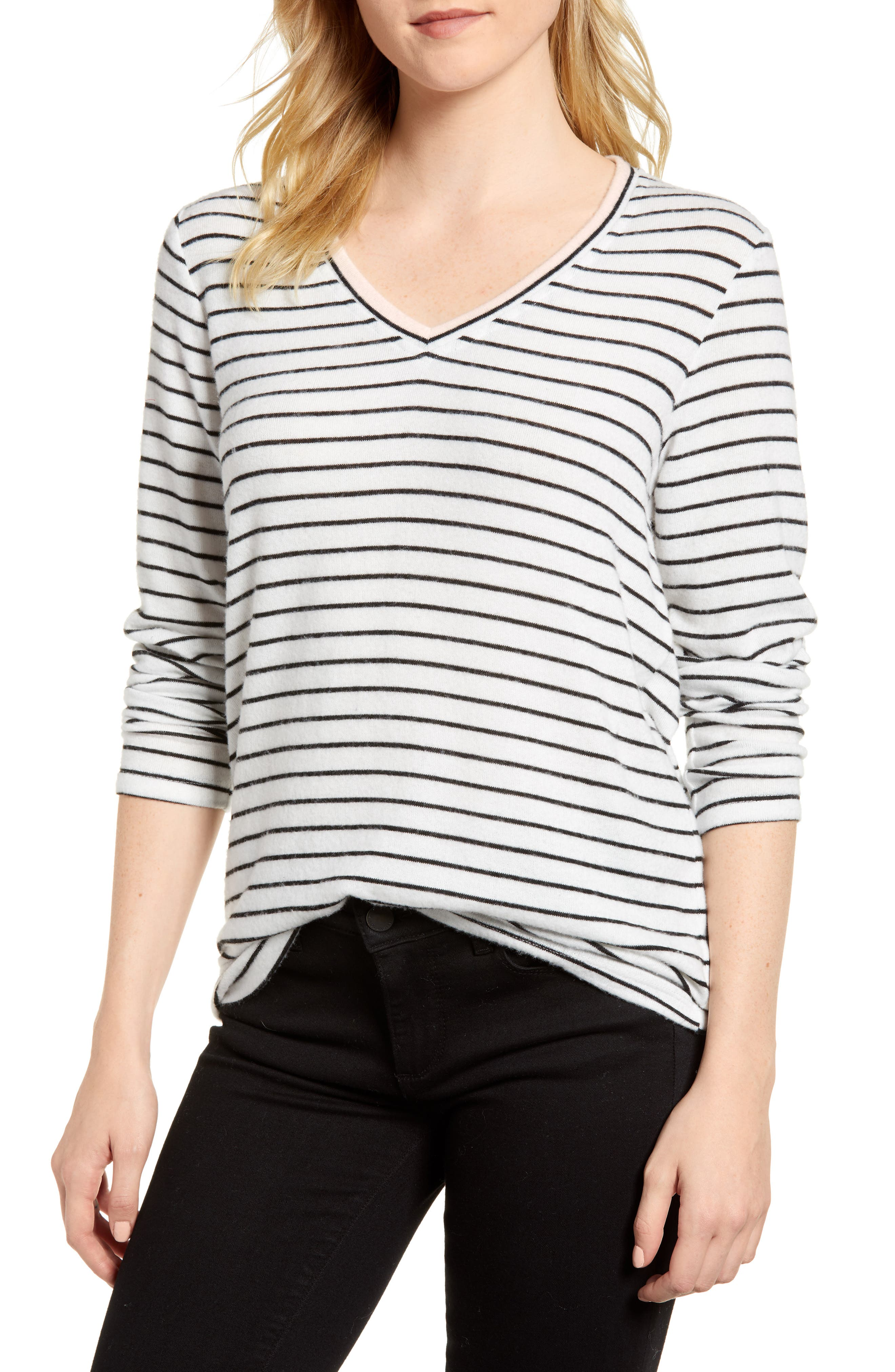 x Living in Yellow Steph Cozy Stripe Top,                             Main thumbnail 1, color,