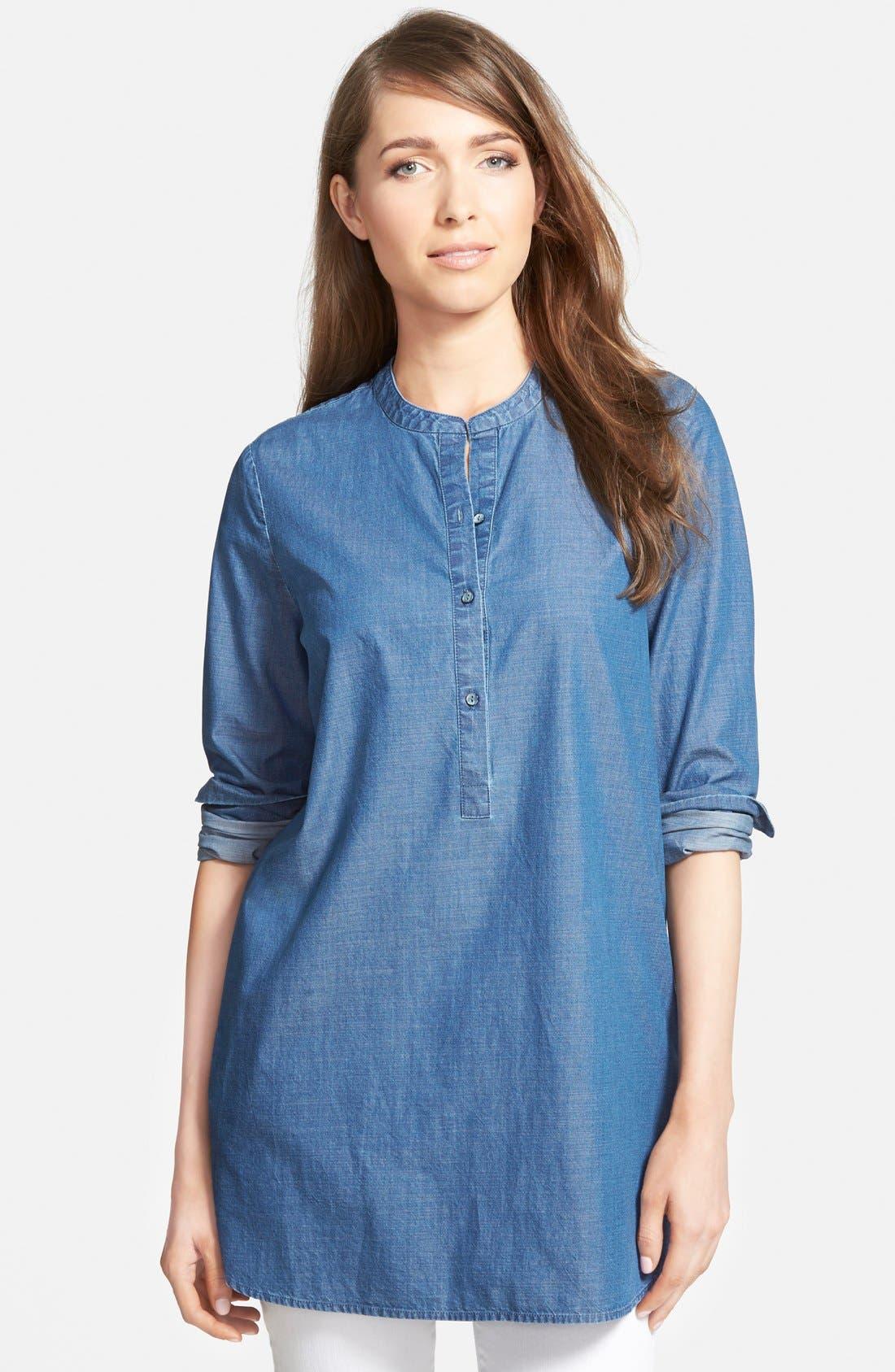 Denim Tunic Shirt,                             Main thumbnail 1, color,                             401