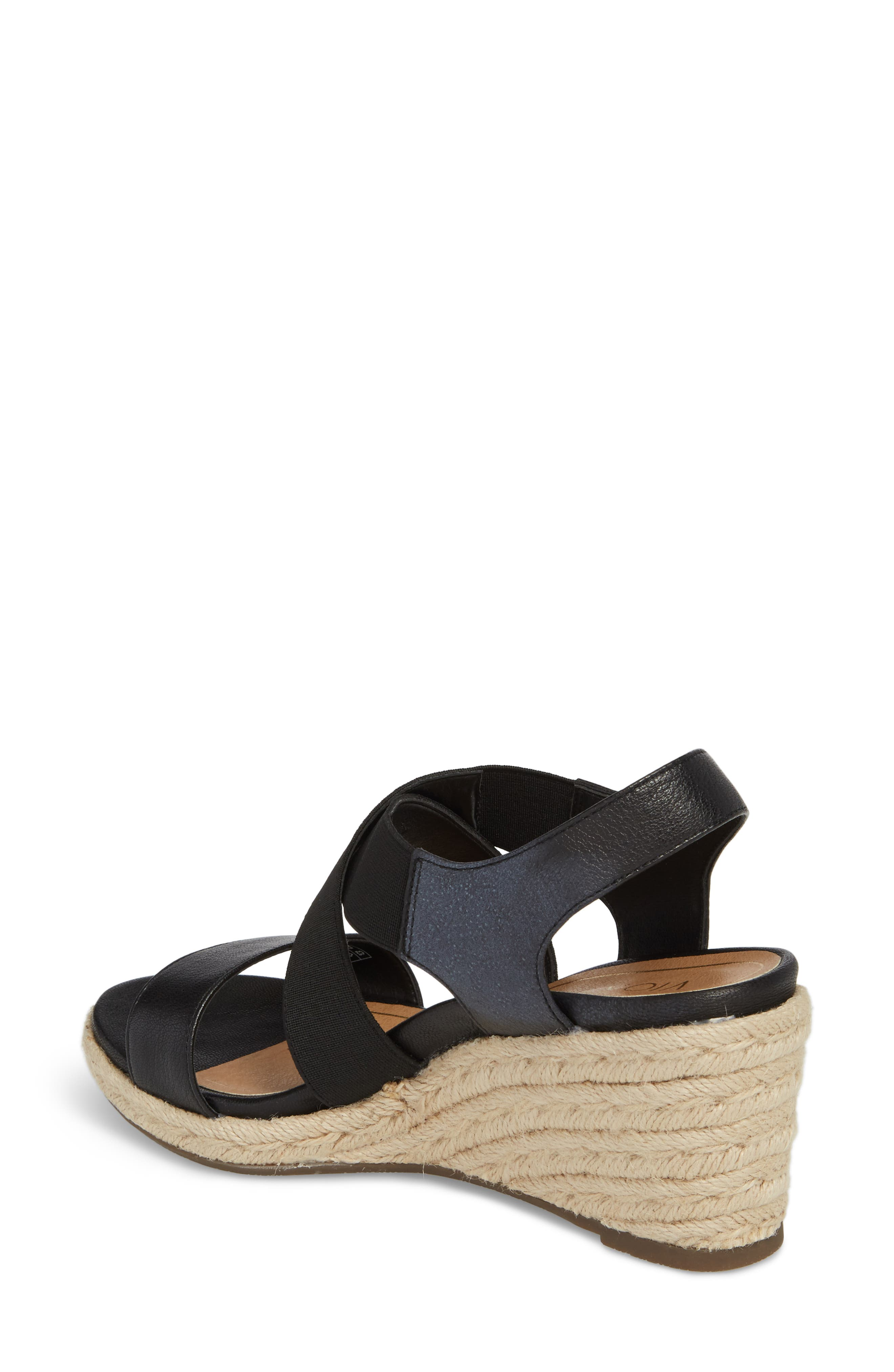 Ainsleigh Wedge Sandal,                             Alternate thumbnail 2, color,                             BLACK LEATHER