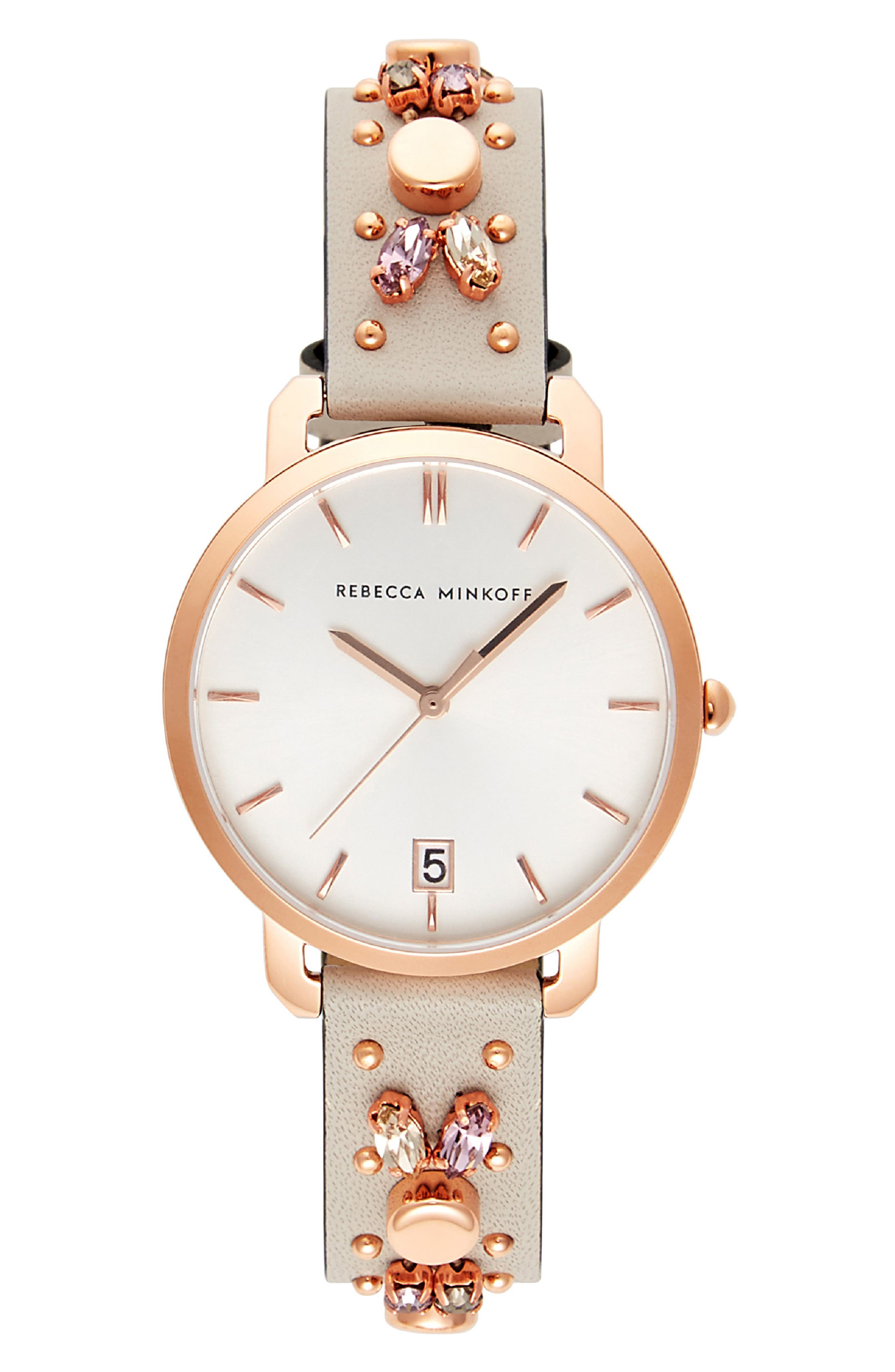 Billie Studded Leather Strap Watch, 34mm,                         Main,                         color, PUTTY/ SILVER/ ROSE GOLD