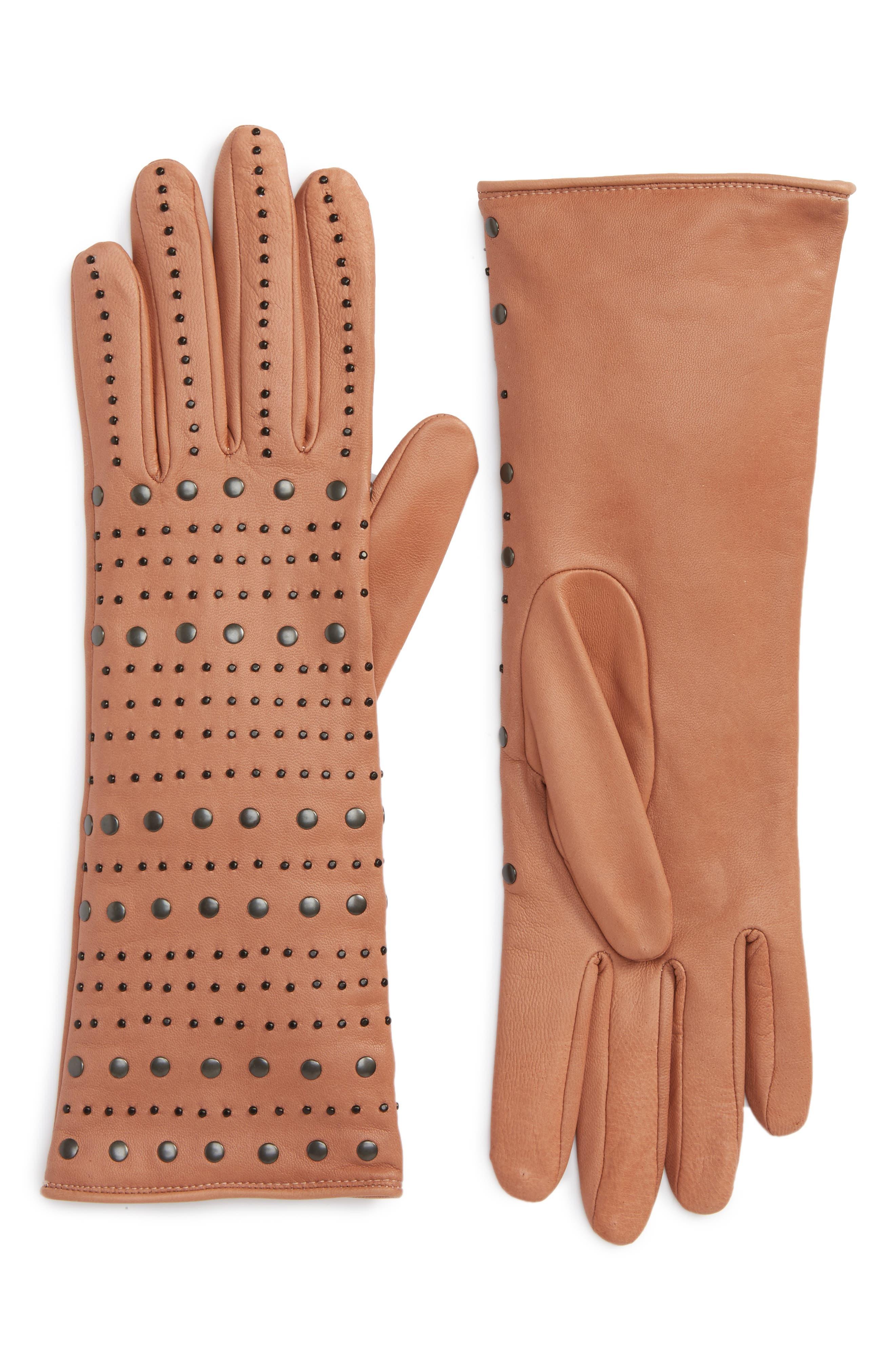 Agnelle Studded Lambskin Leather Gloves, Beige