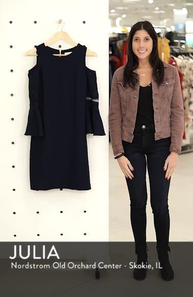 Lace Appliqué Crepe Cold Shoulder Dress, sales video thumbnail