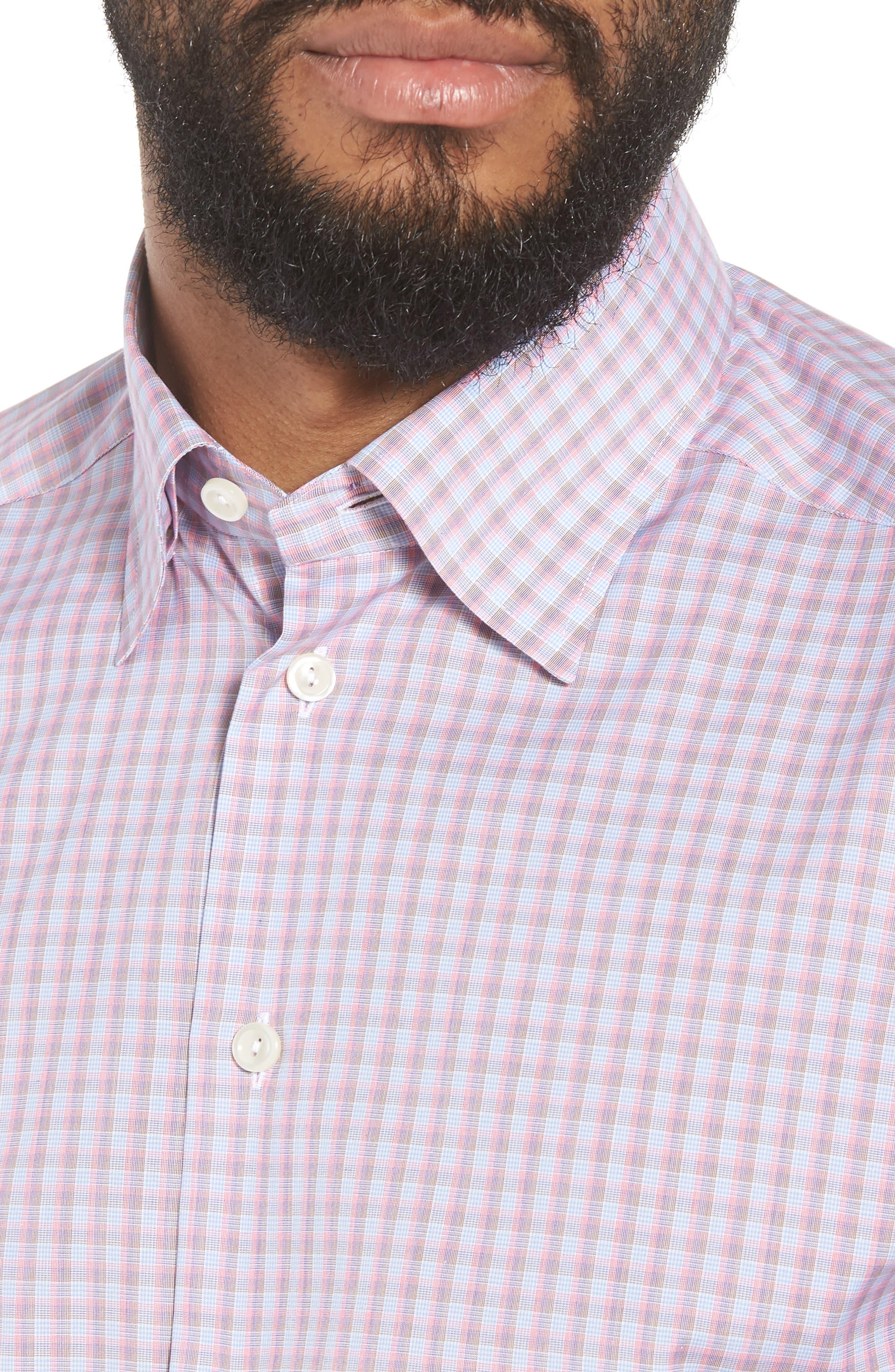 Contemporary Fit Plaid Dress Shirt,                             Alternate thumbnail 2, color,                             PINK