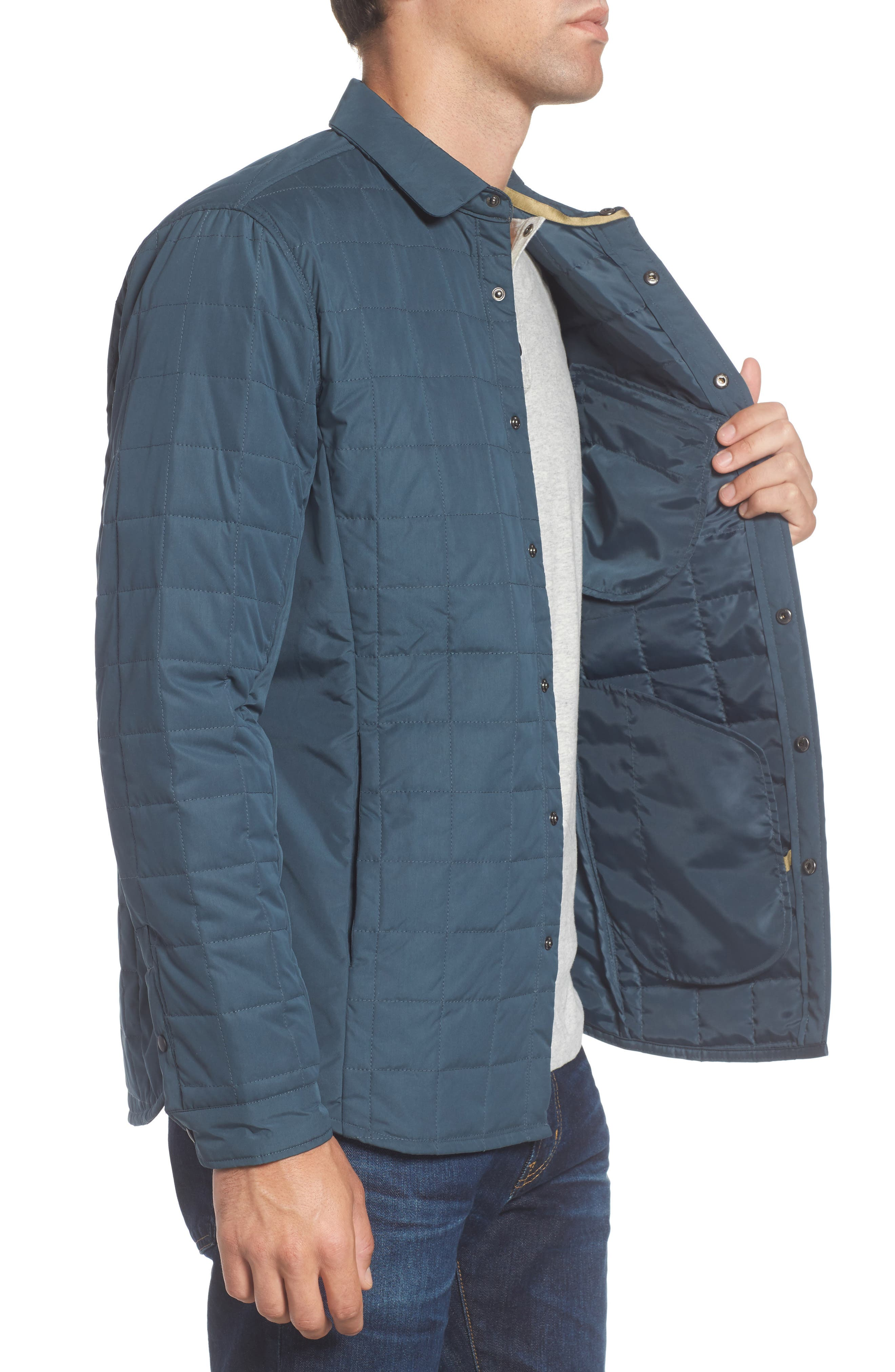 Bixby Quilted Shirt Jacket,                             Alternate thumbnail 3, color,                             FLOOD