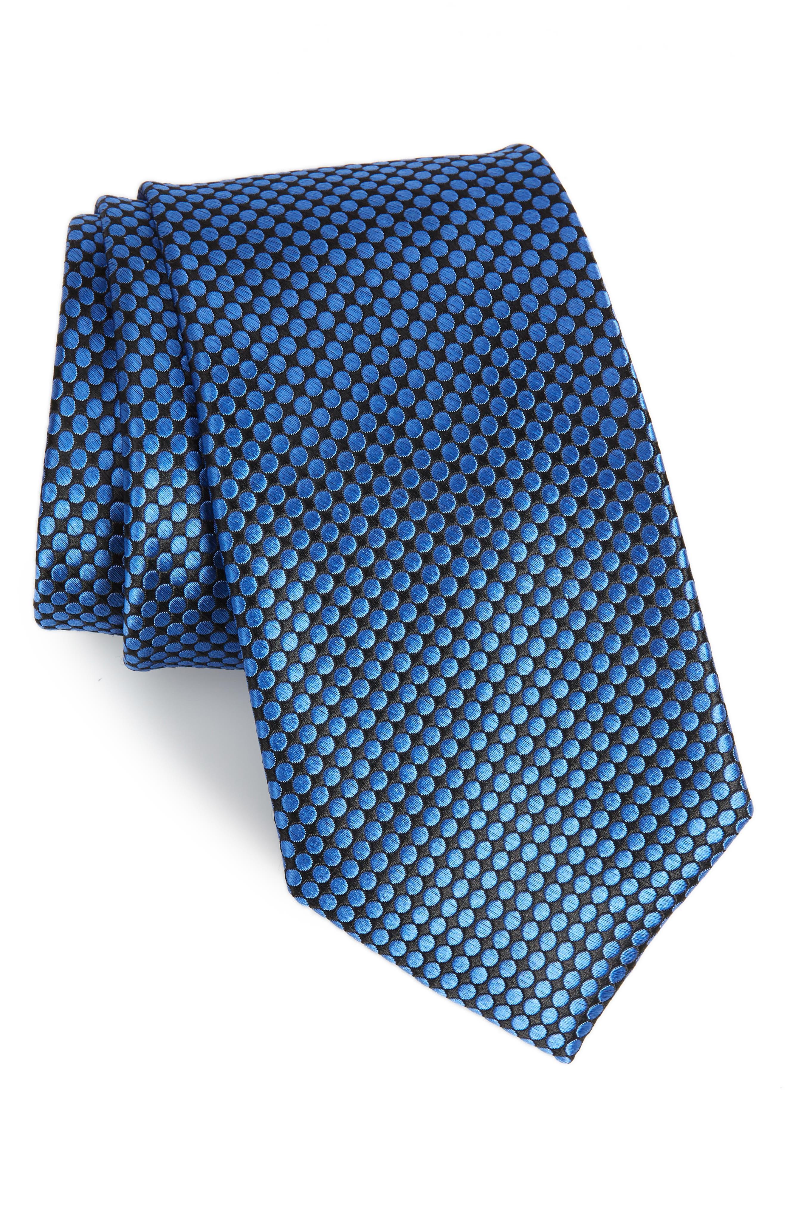 London Dot Silk Tie,                         Main,                         color, SAPPHIRE