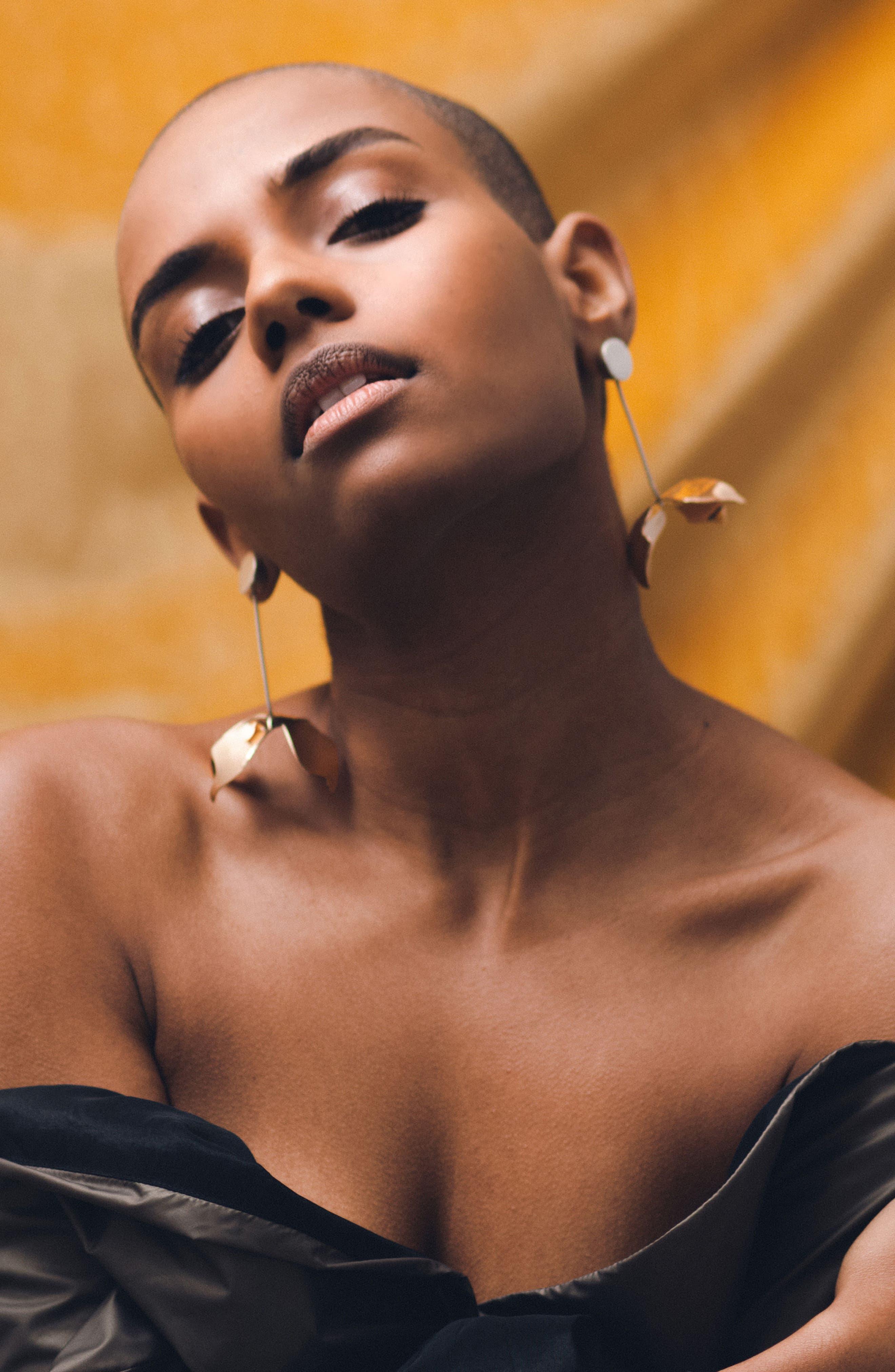 Ladyday Linear Drop Earrings,                             Alternate thumbnail 5, color,                             SILVER/ BRONZE