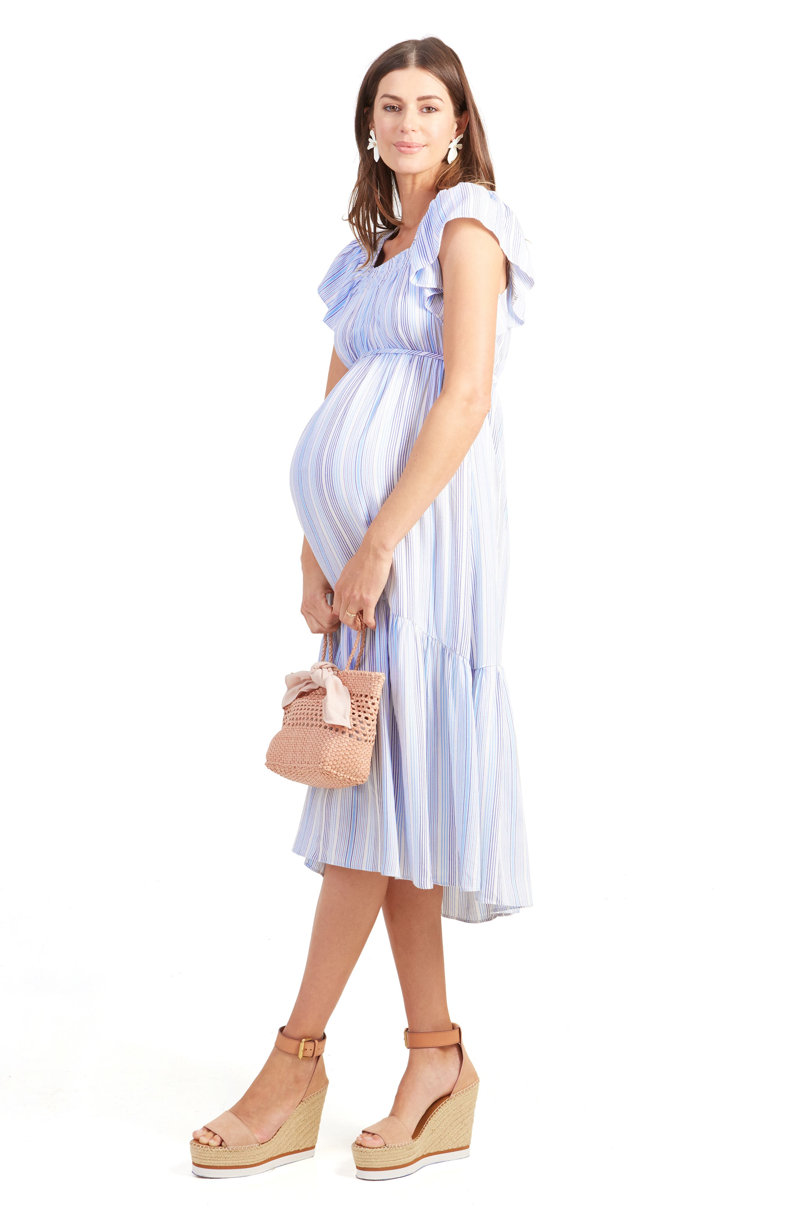 INGRID & ISABEL<SUP>®</SUP>,                             Flutter Sleeve Maternity Midi Dress,                             Alternate thumbnail 4, color,                             BLUE MULTI STRIPE