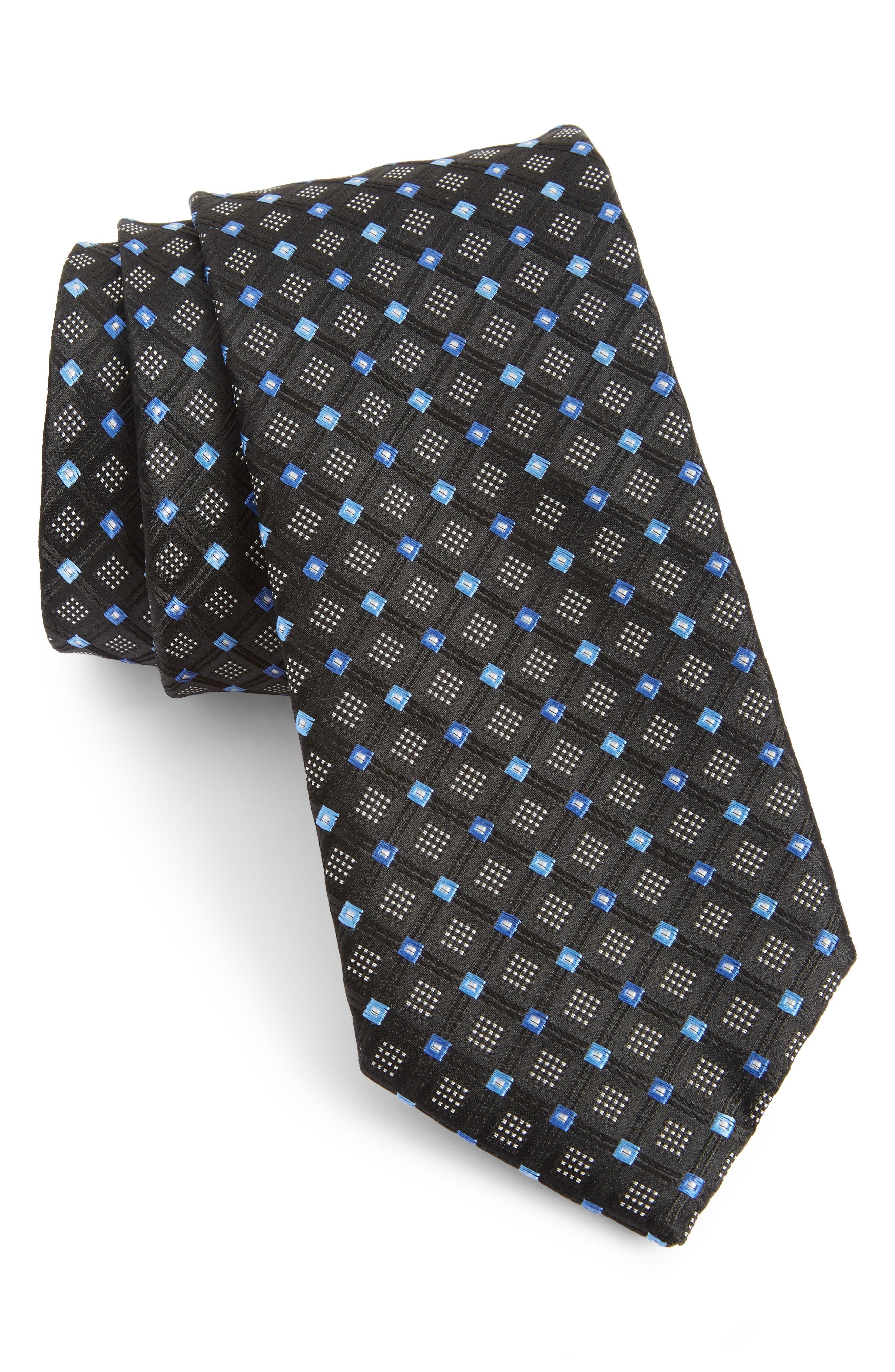 Coventry Neat Silk Tie,                         Main,                         color, BLACK