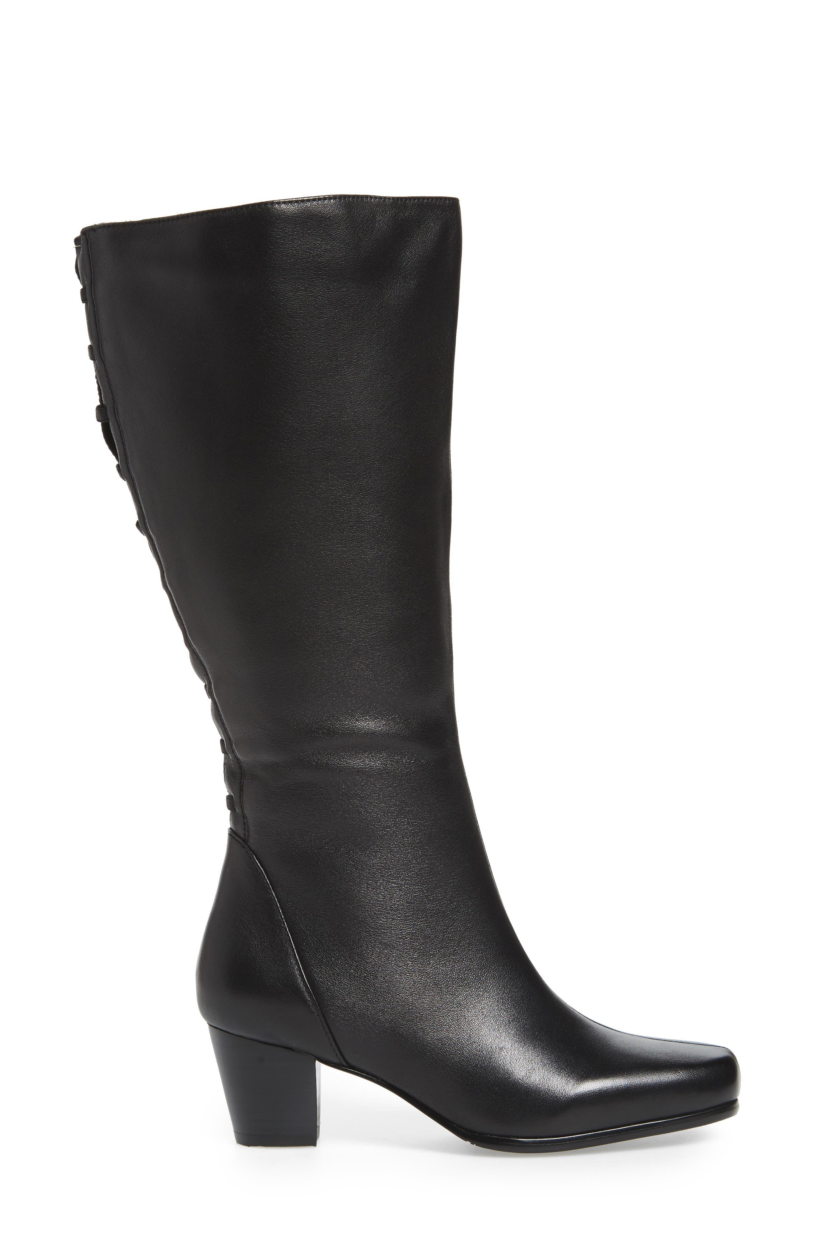 Tacoma 18 Tall Boot,                             Alternate thumbnail 3, color,                             BLACK LEATHER