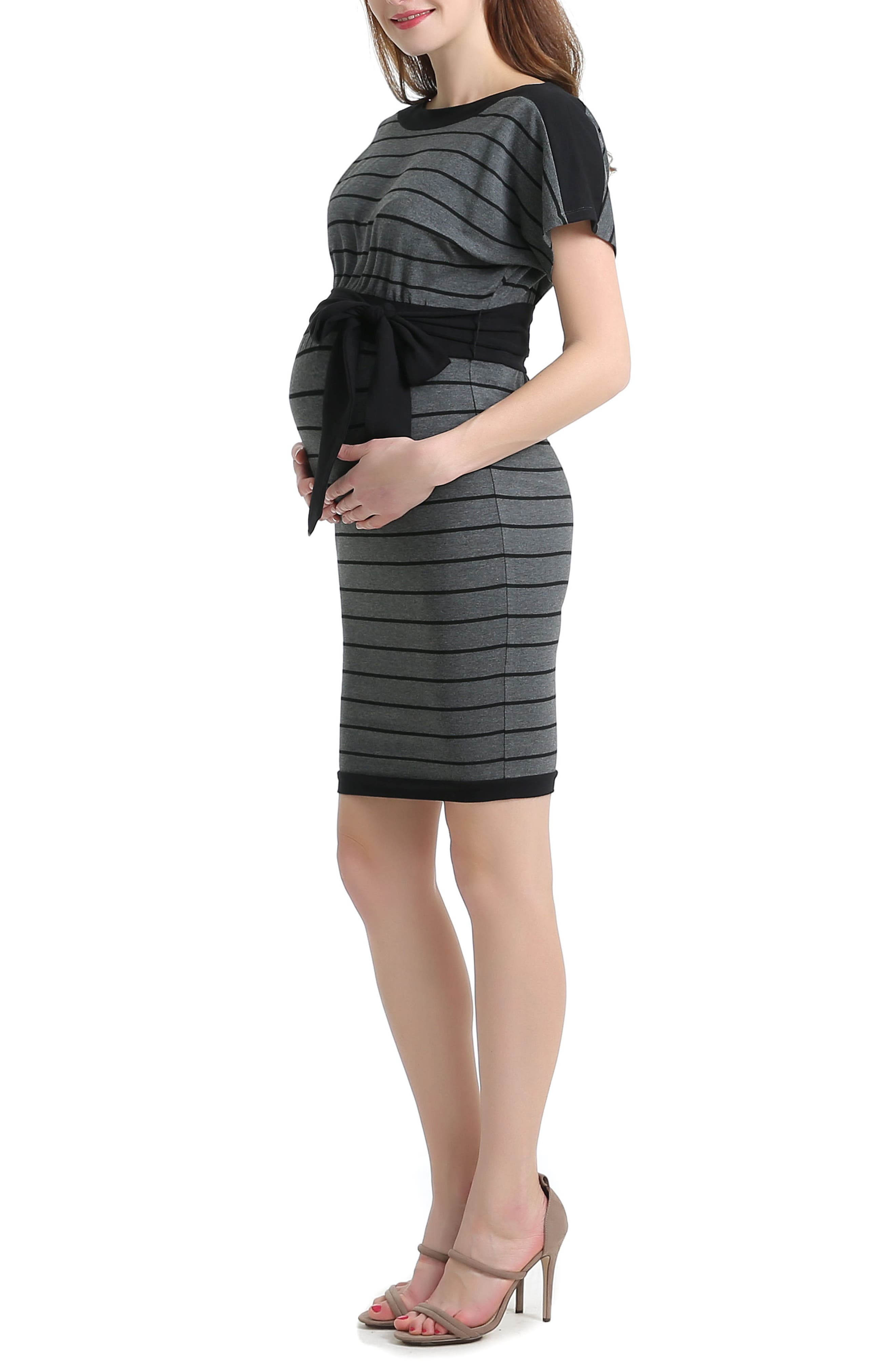 Anna Stretch Maternity Dress,                             Alternate thumbnail 3, color,                             BLACK/ GRAY