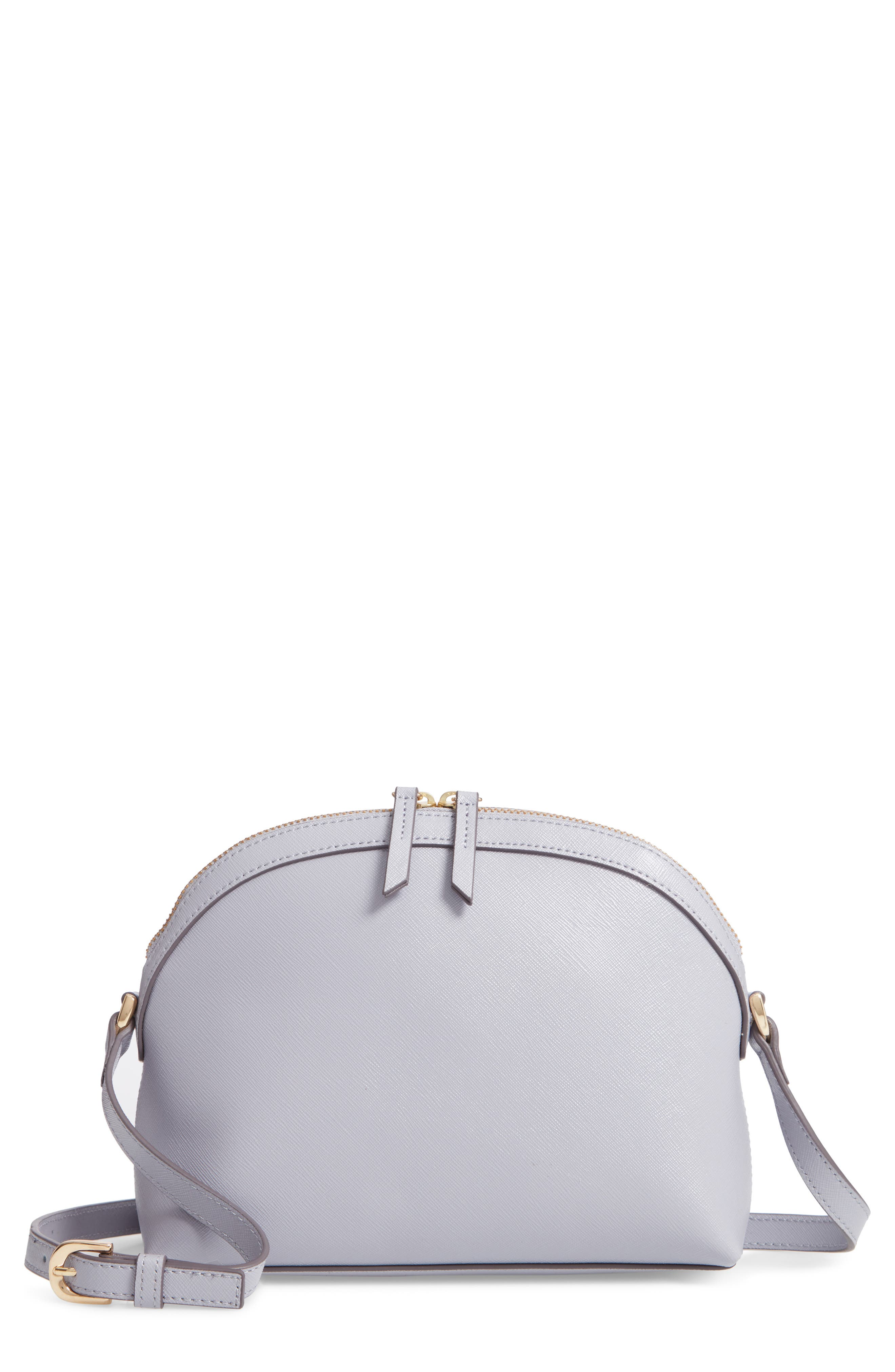Isobel Half Moon Leather Crossbody Bag,                         Main,                         color, GREY LILAC