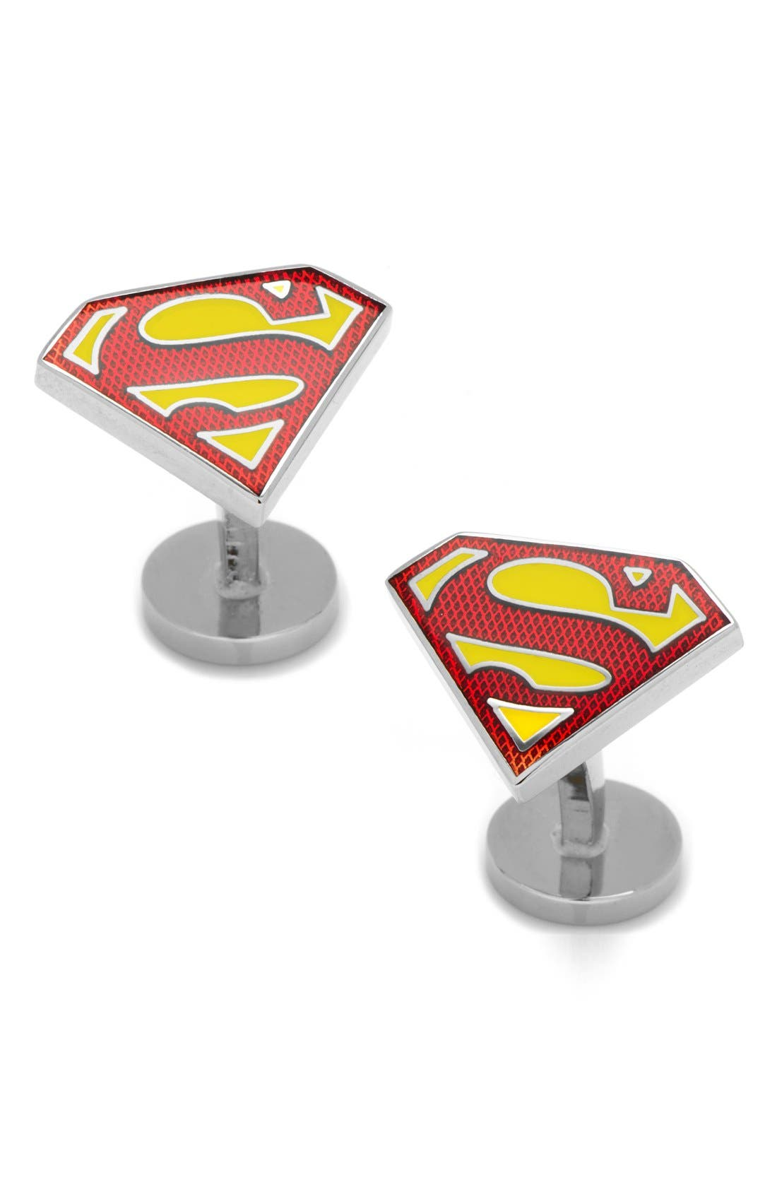 'Superman' Cuff Links,                             Main thumbnail 1, color,                             RED