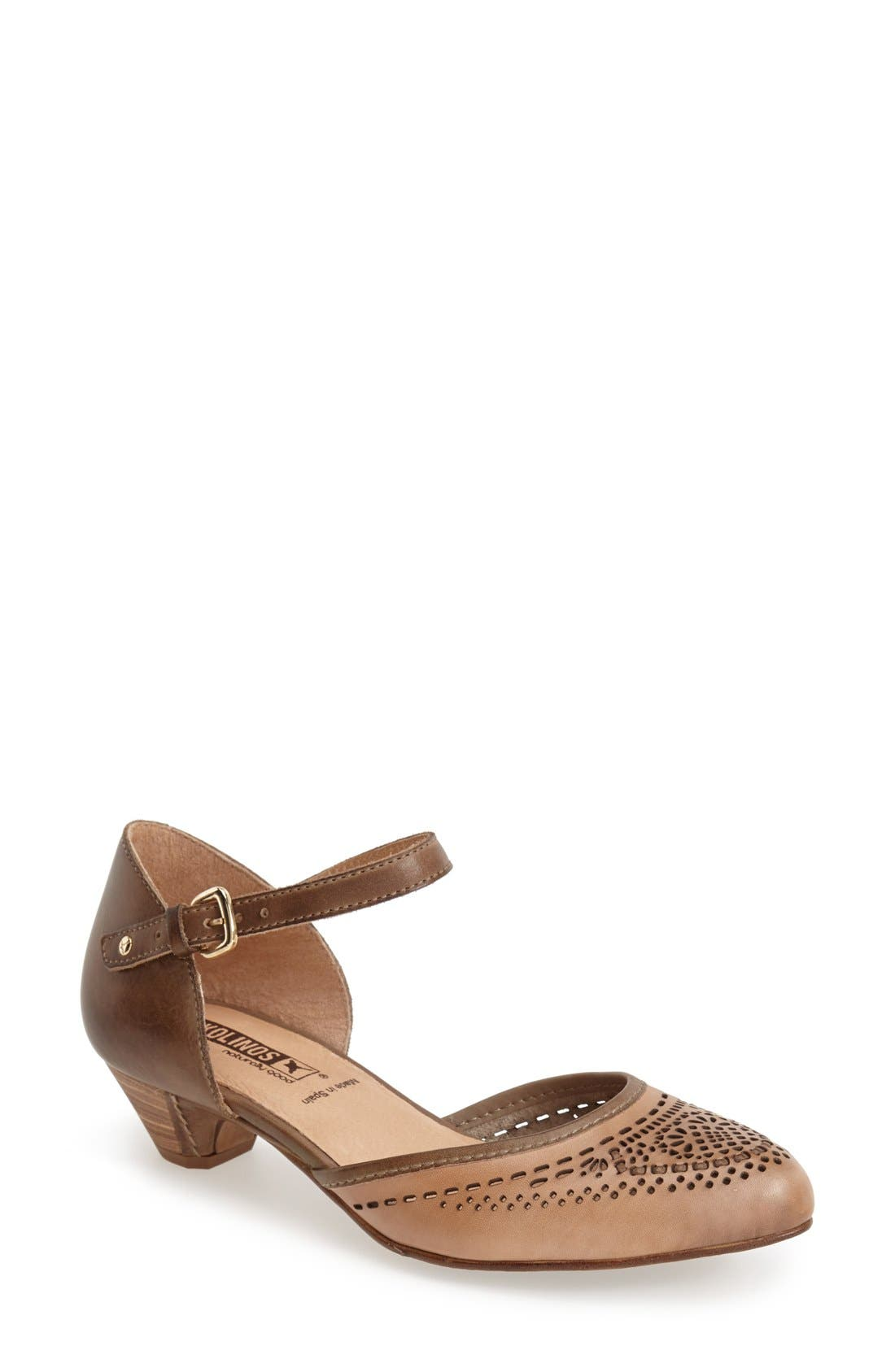 'Elba' Perforated Leather Ankle Strap Sandal,                             Main thumbnail 1, color,