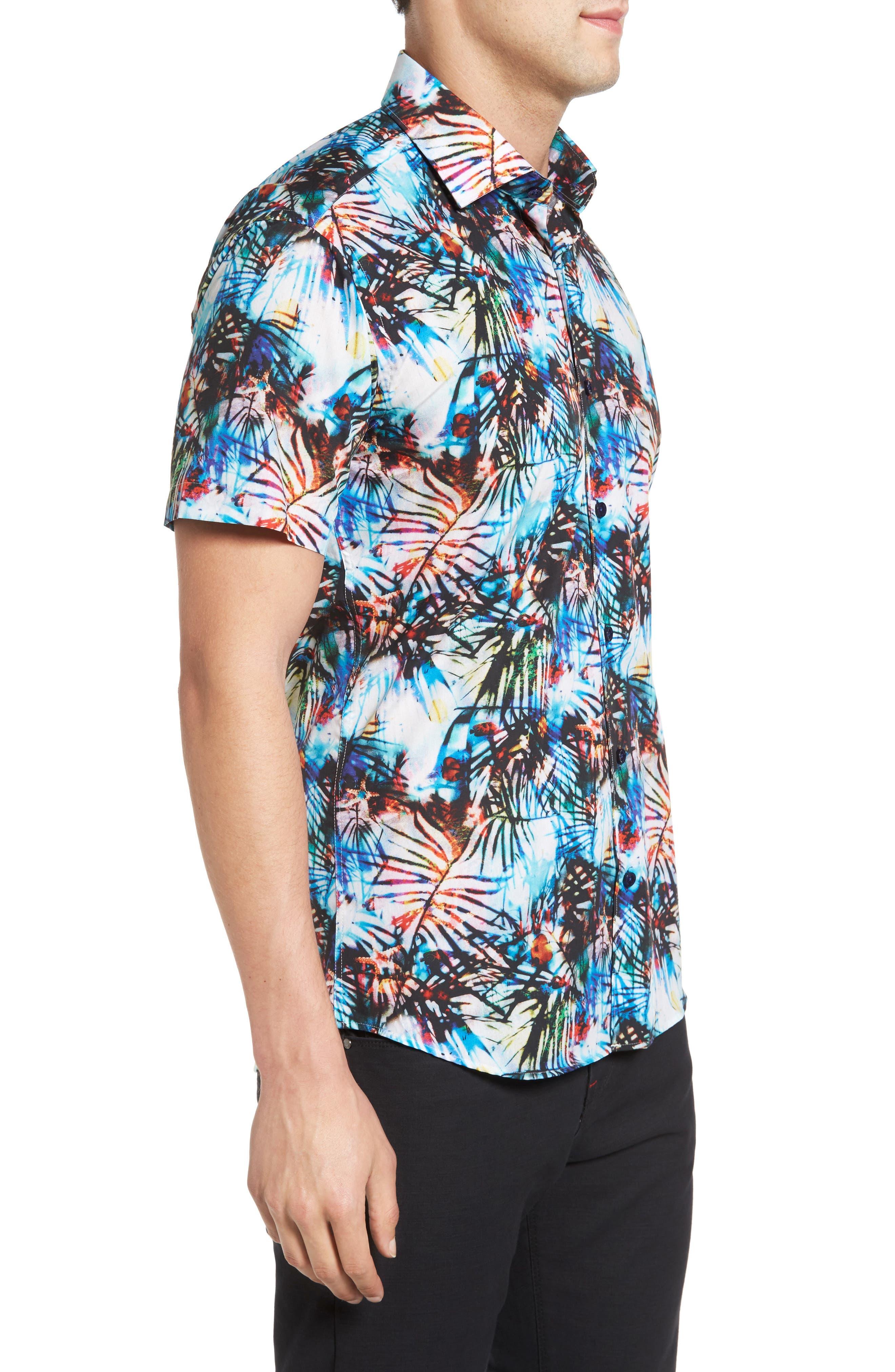 Trim Fit Print Sport Shirt,                             Alternate thumbnail 3, color,                             100