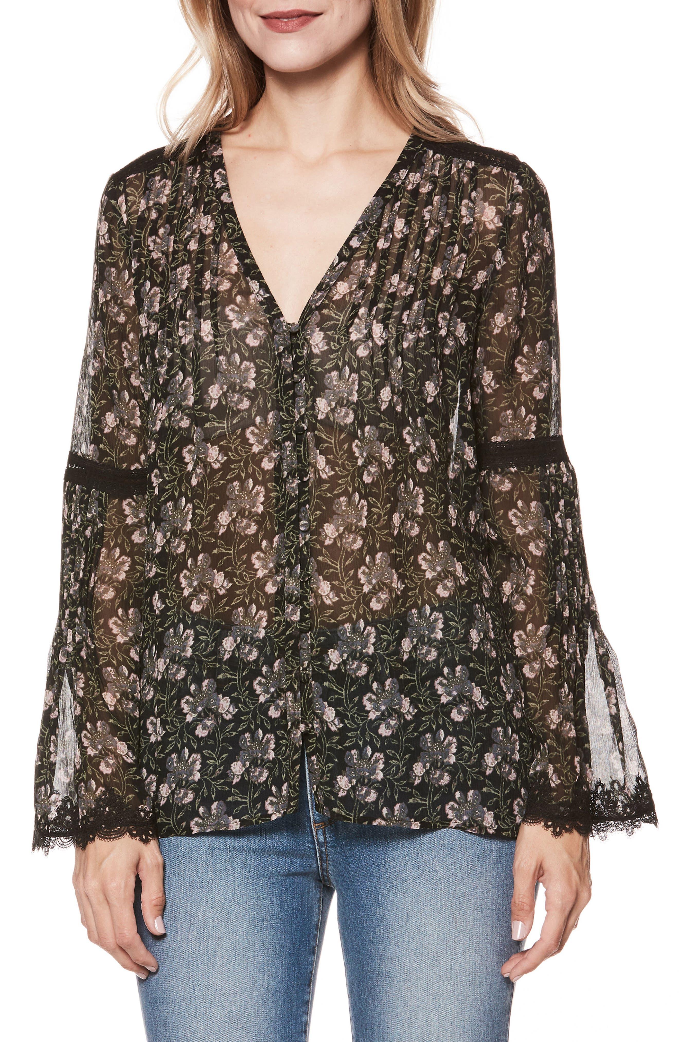 Clio Floral Bell Sleeve Silk Blouse,                         Main,                         color, STORM CLOUD FLORAL