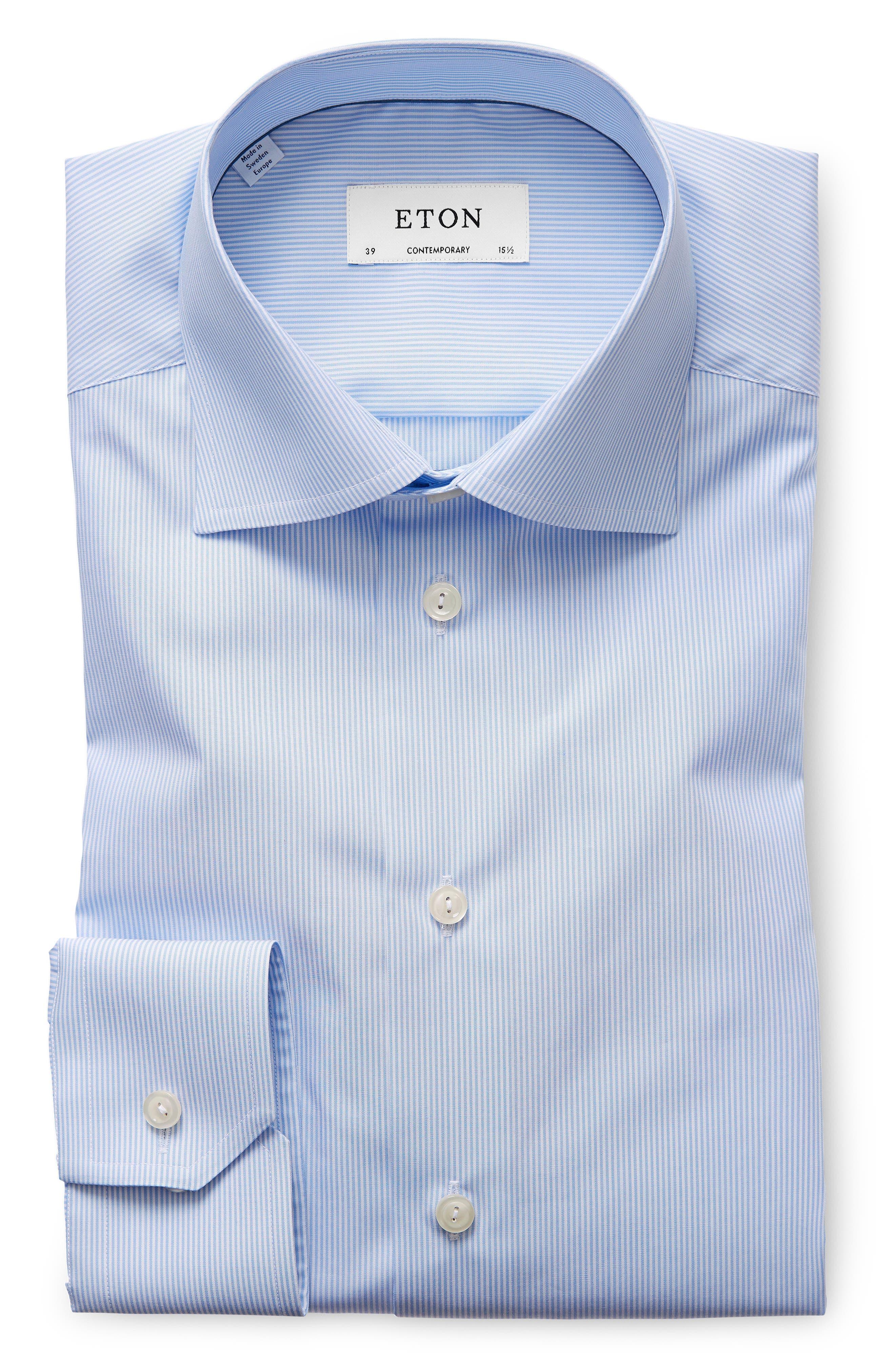 Contemporary Fit Stripe Dress Shirt,                             Alternate thumbnail 5, color,                             BLUE