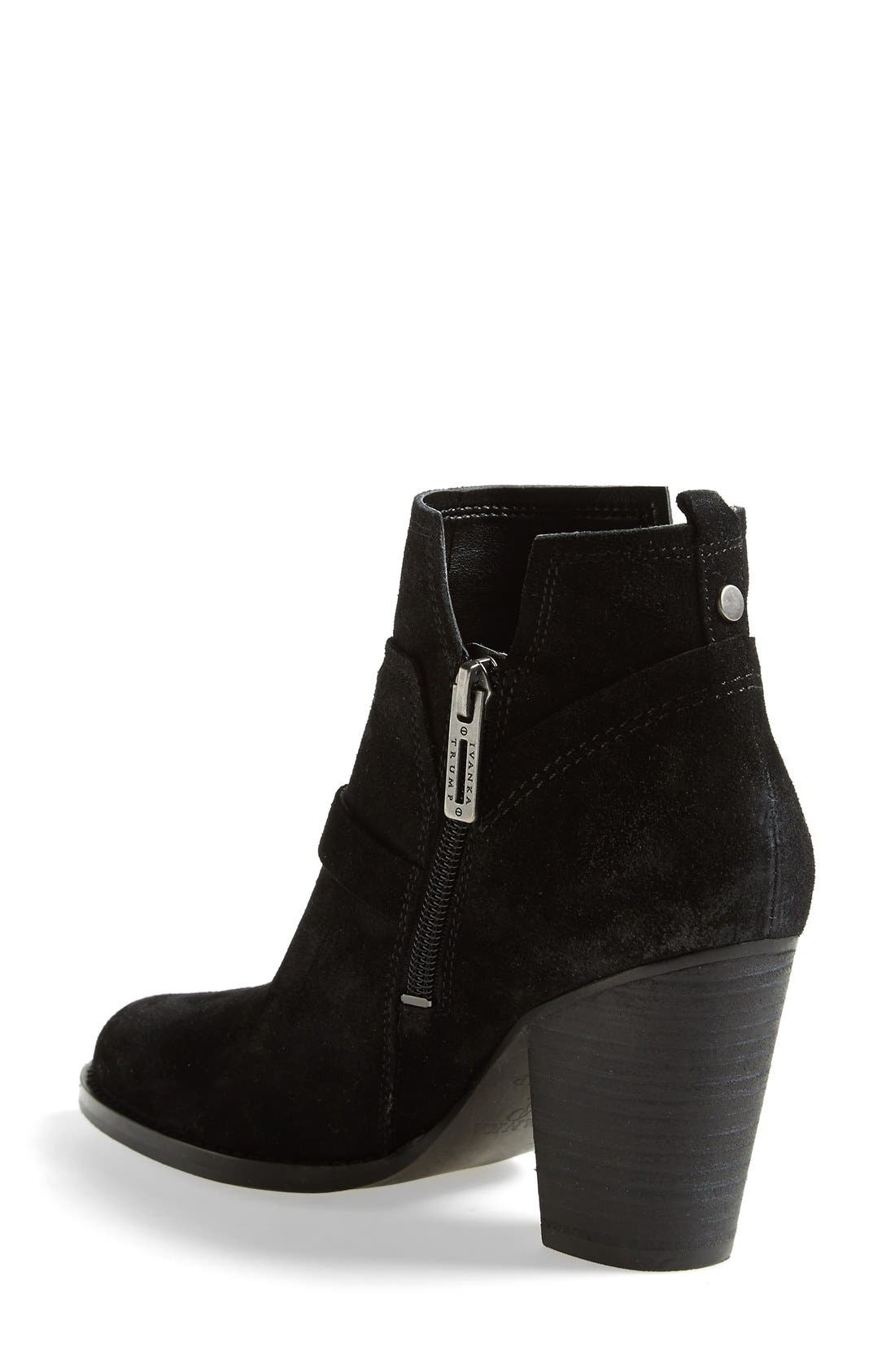 IVANKA TRUMP,                             'Frankly' Belted Round Toe Bootie,                             Alternate thumbnail 4, color,                             001