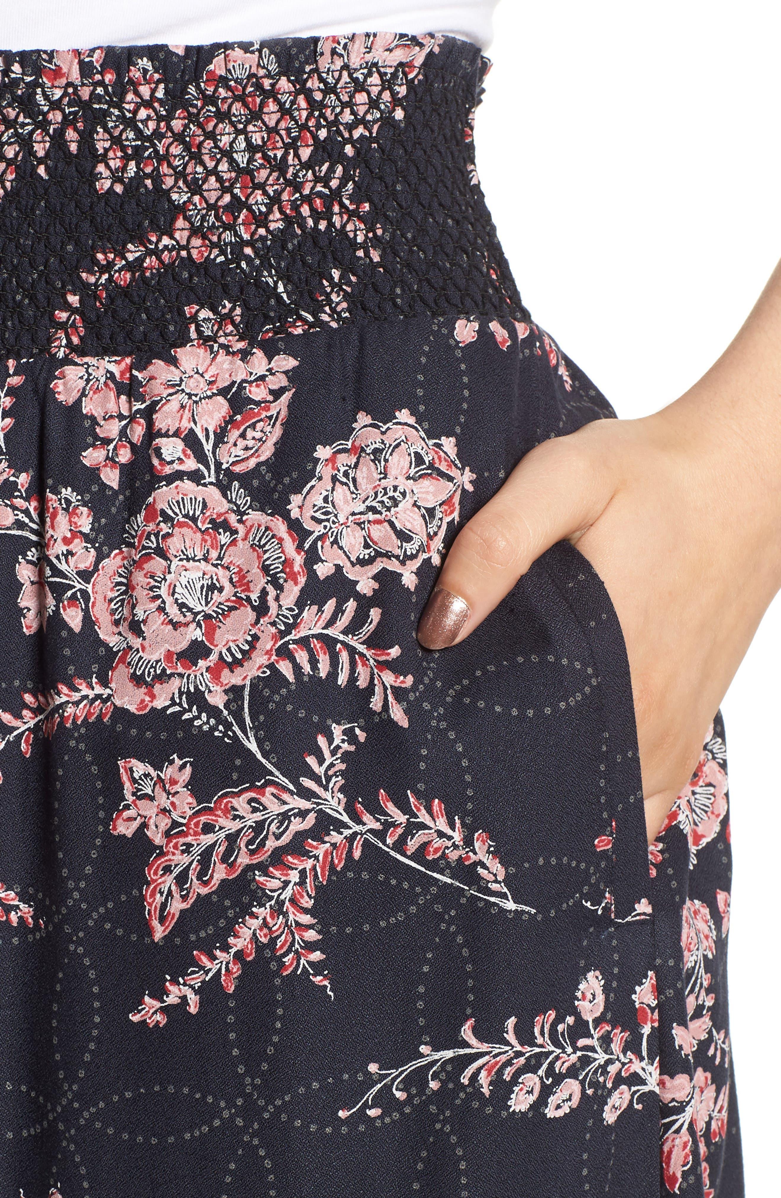 Smock Waist Midi Skirt,                             Alternate thumbnail 4, color,                             410