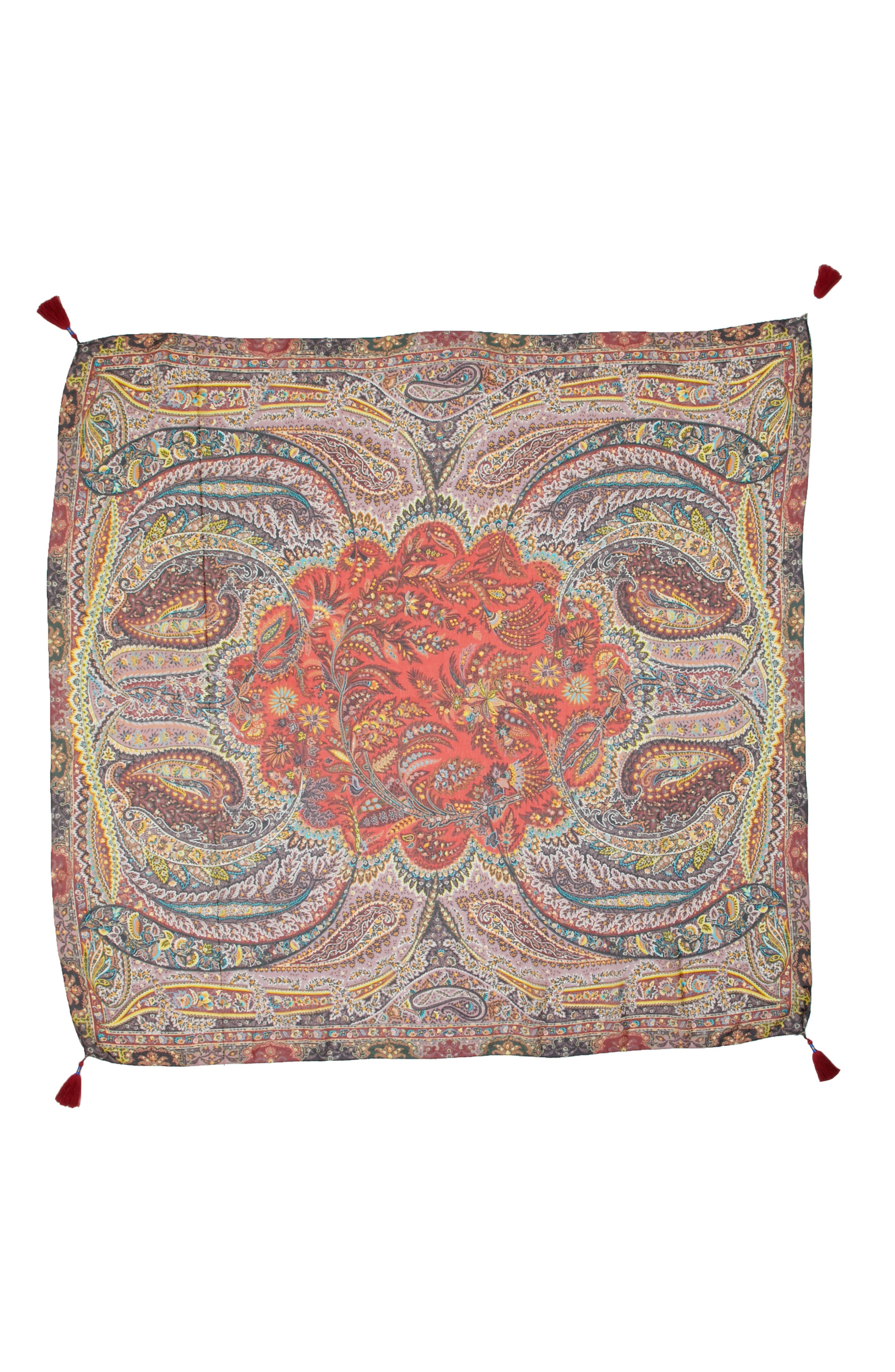 Fern Paisley Tassel Silk Square Scarf,                             Main thumbnail 1, color,                             RED MULTI