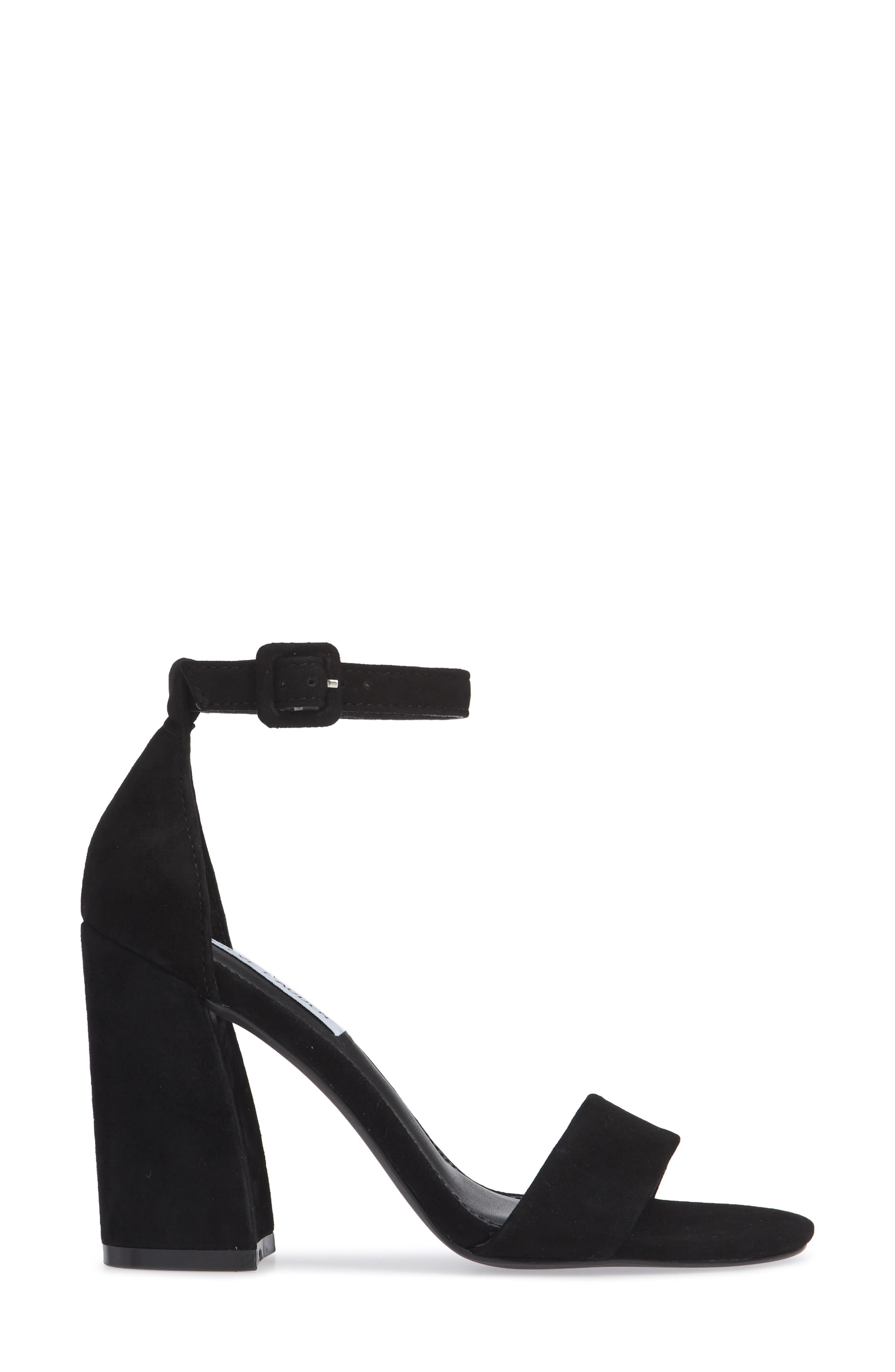 Joss Ankle Strap Sandal,                             Alternate thumbnail 3, color,                             BLACK SUEDE
