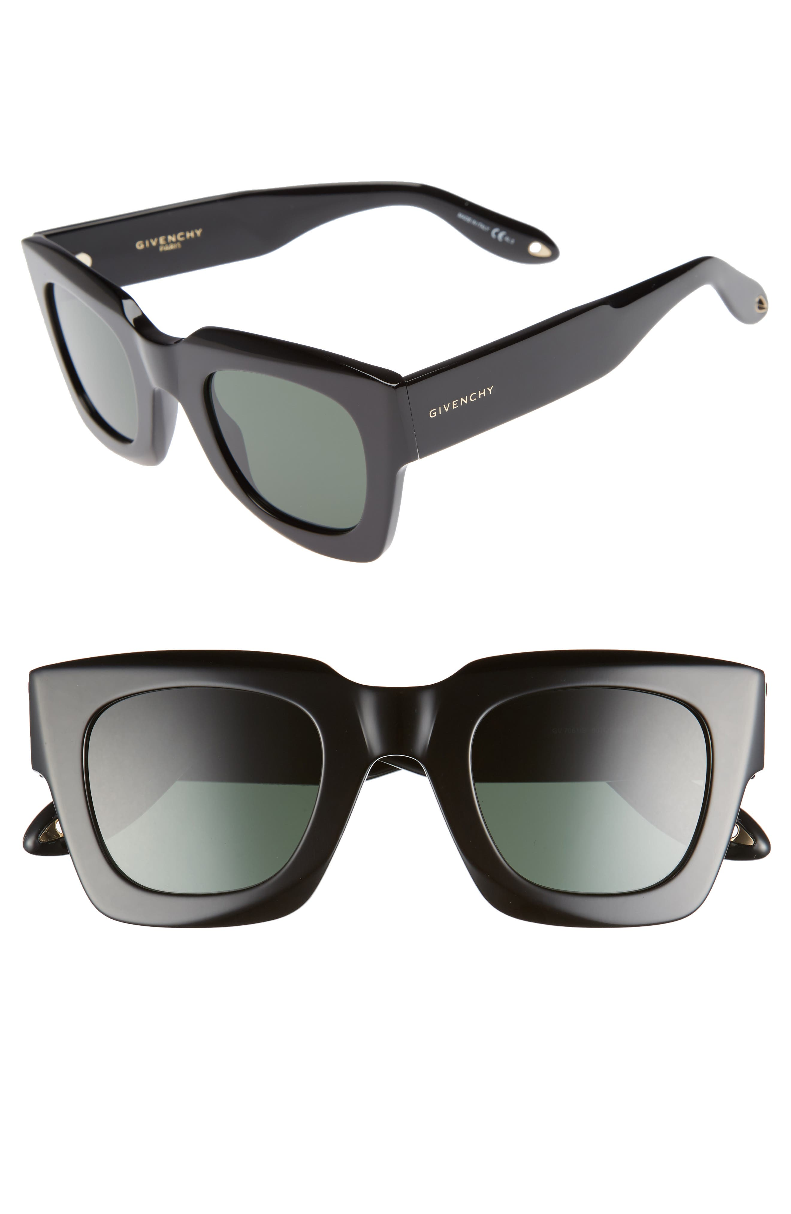 48mm Square Sunglasses,                             Main thumbnail 1, color,                             BLACK