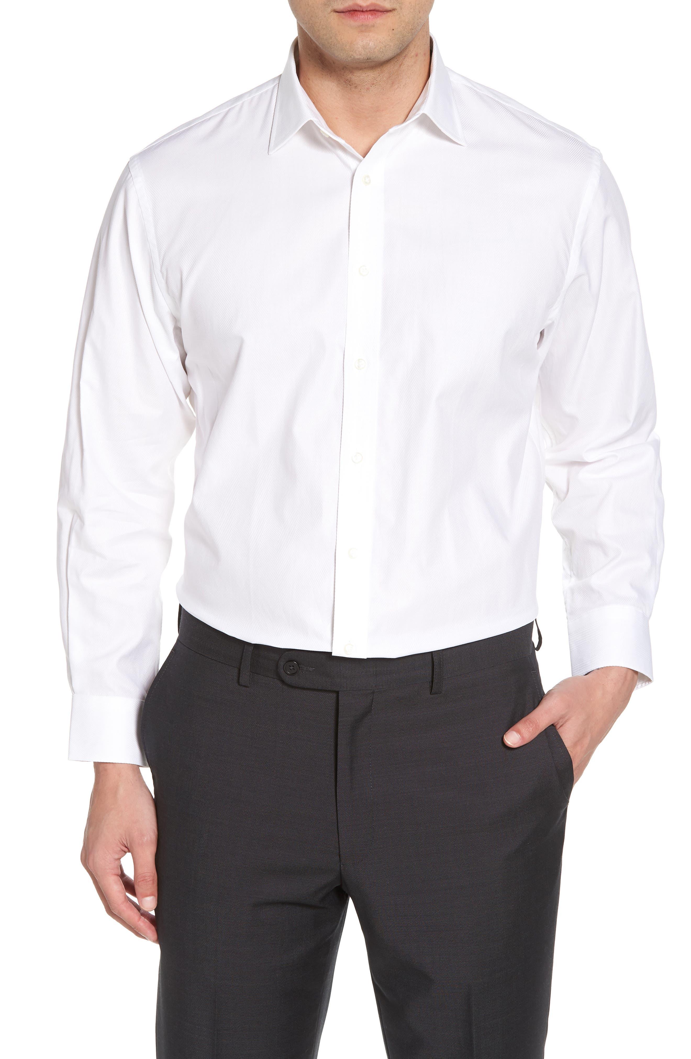 Traditional Fit Herringbone Dress Shirt,                             Main thumbnail 1, color,                             WHITE