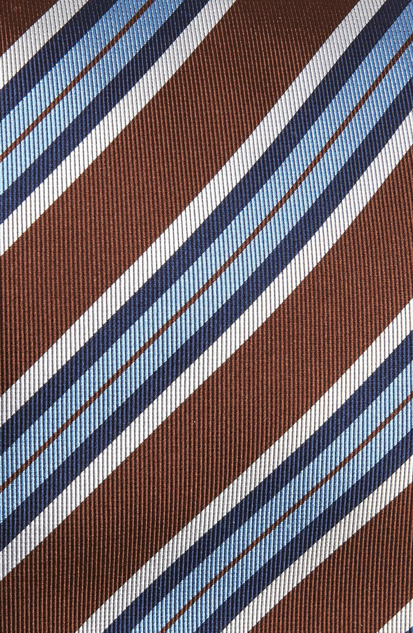 Stripe Silk X-Long Tie,                             Alternate thumbnail 2, color,                             CHOCOLATE